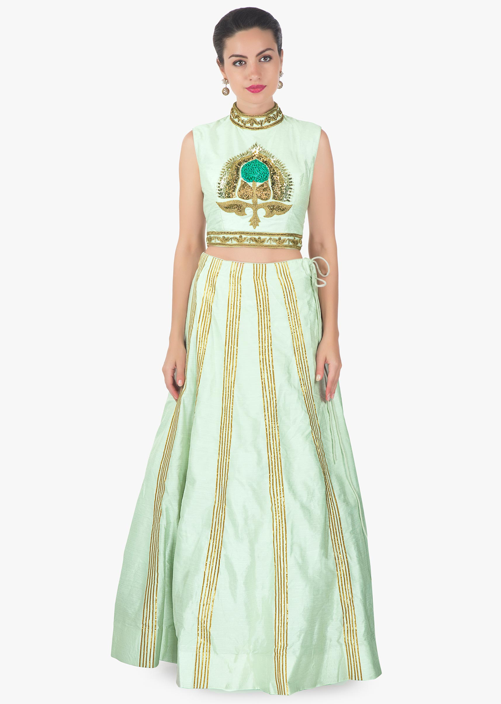 25d847b94e8621 Mint green lehenga with embroidered blouse matched with long jacket in  tassel only on Kalki