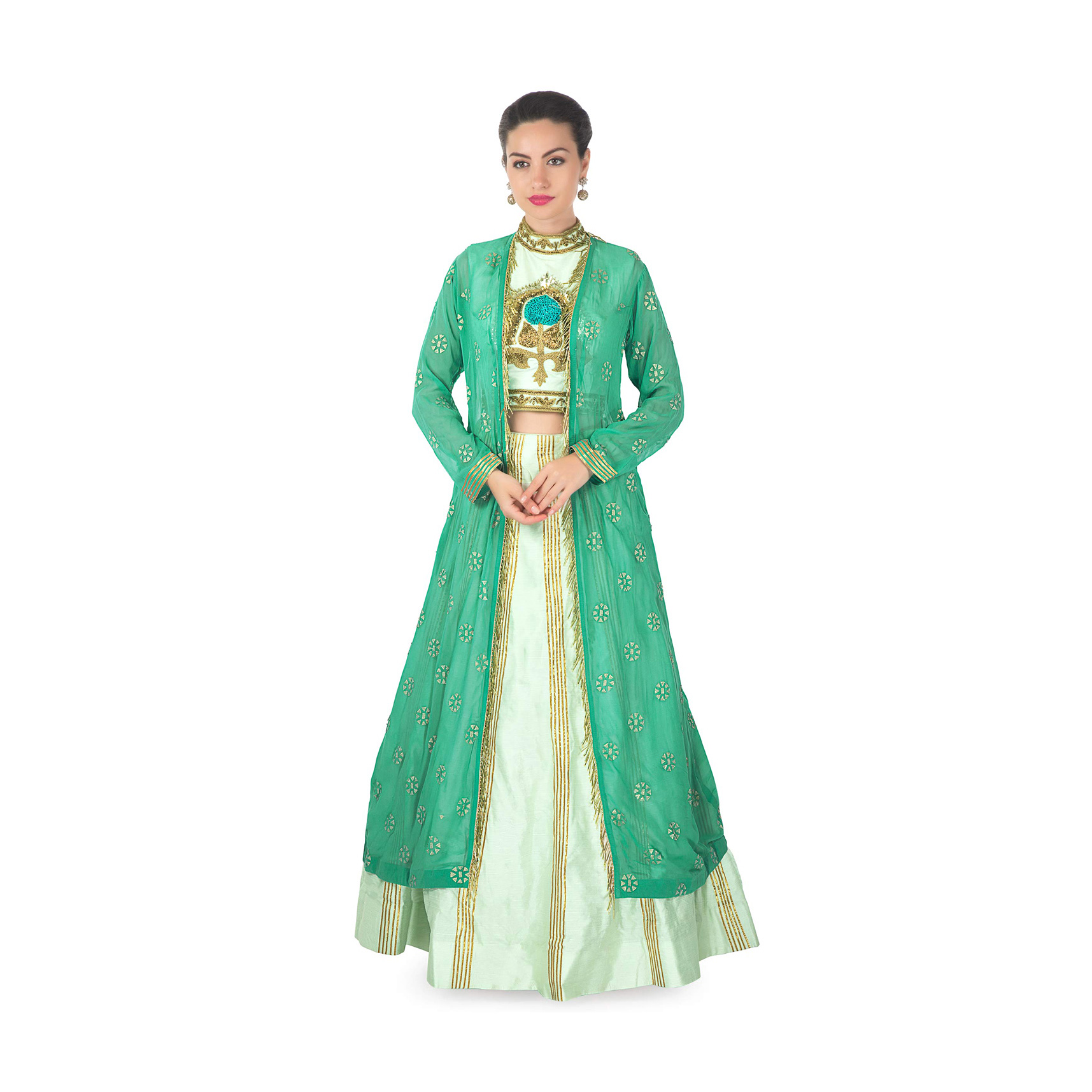 fa67e04052180e Mint green lehenga with embroidered blouse matched with long jacket in  tassel only on KalkiMore Detail