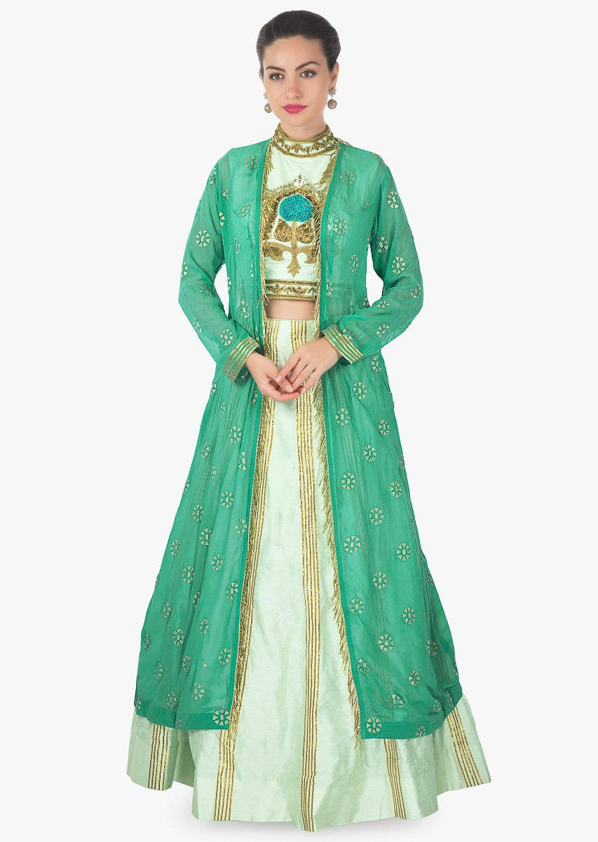 606d66d9d00e87 Mint green lehenga with embroidered blouse matched with long jacket in  tassel only on KalkiMore Detail