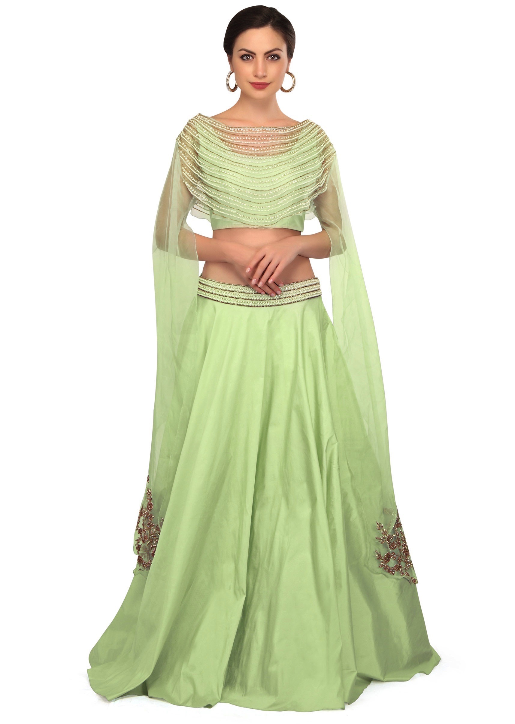 1526486f0e8efa Mint green lehenga with fancy embroidered cape blouse only on KalkiMore  Detail