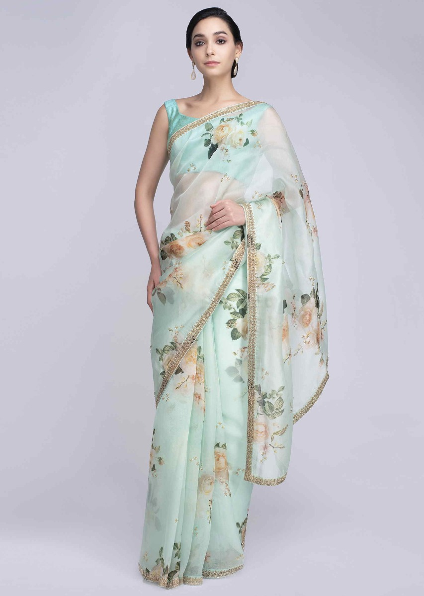 ca098314e8f619 Mint green organza saree in digital floral print only on KalkiMore Detail