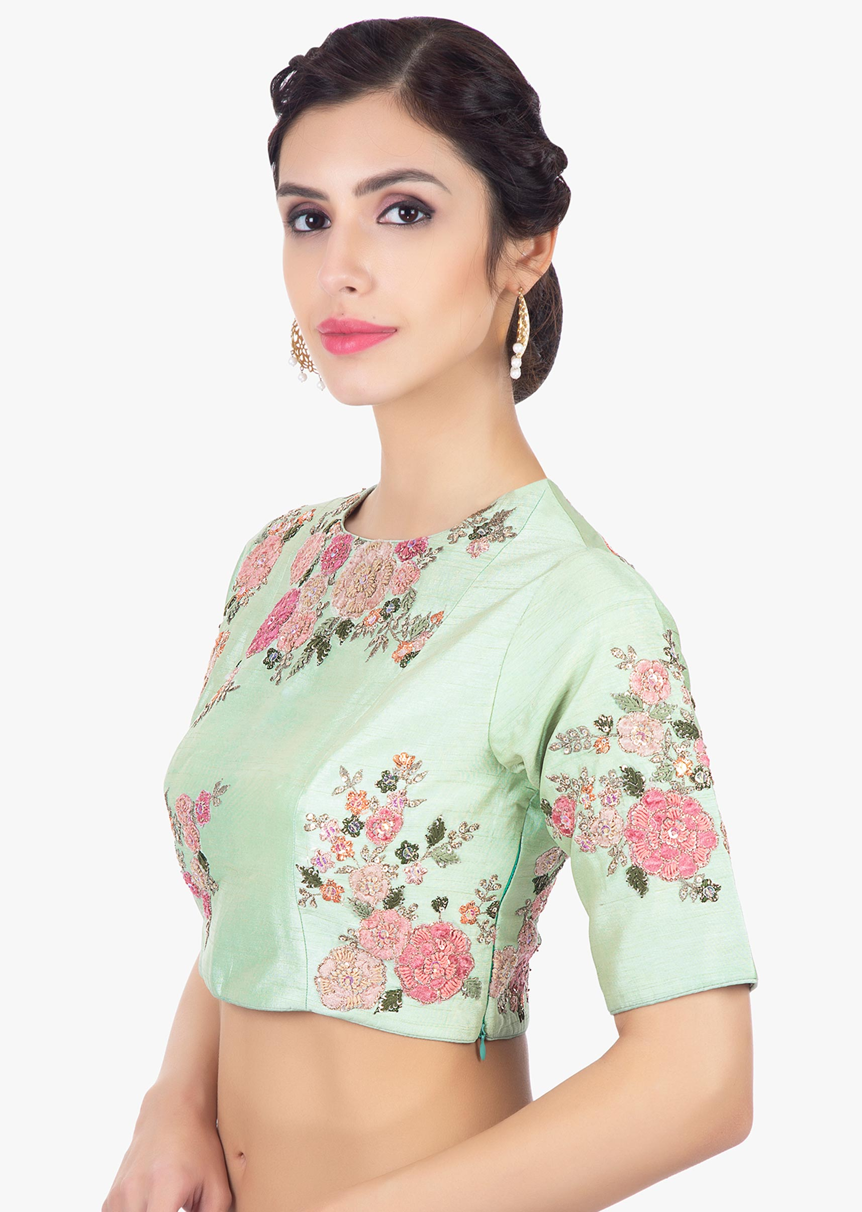 4dc5c81d37d6e2 Mint green raw silk blouse in velvet and zari floral embroidery only on  Kalki
