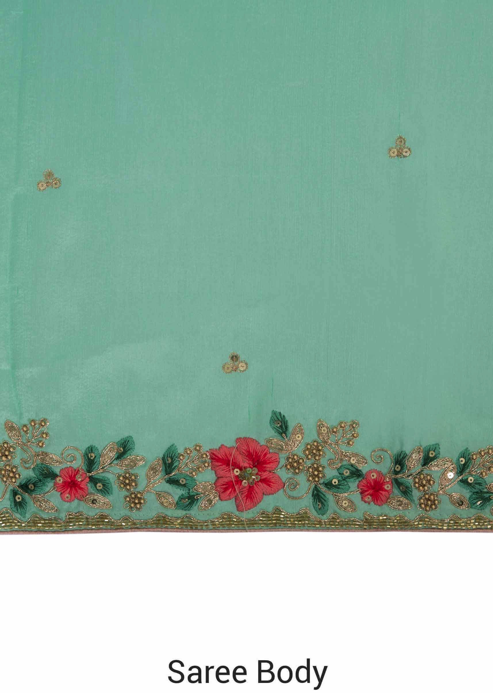 8fb109dc9b074 Mint Green Satin Saree with Unstitched Pink Raw Silk Blouse Featuring Resham  and Zardosi only on