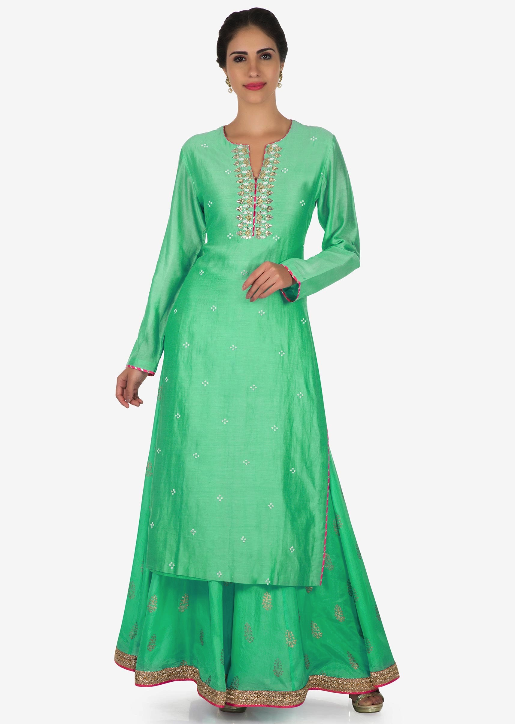 e28883a61b Mint green palazzo suit in silk adorn with gota patti embroidery work only  on Kalki