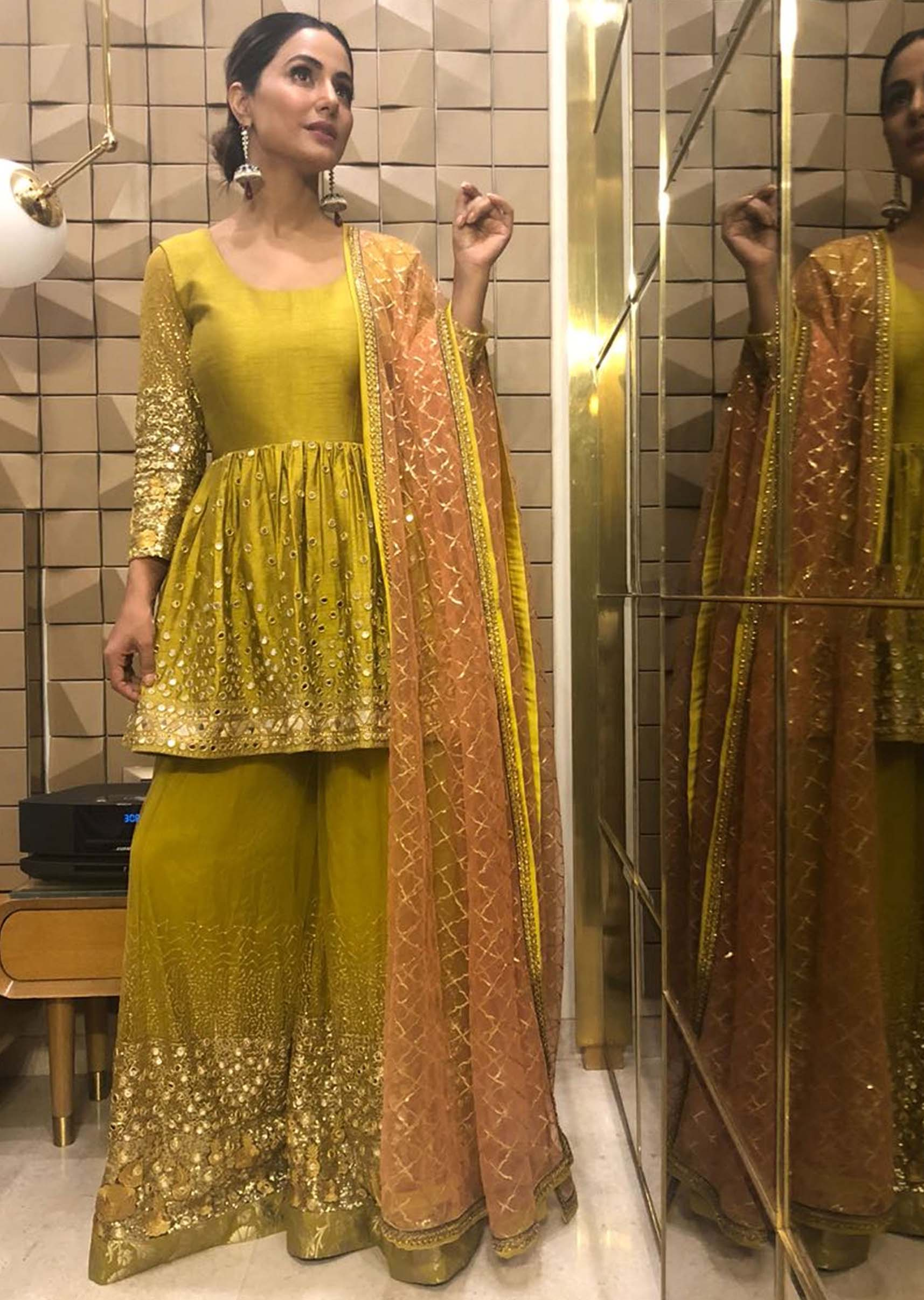 c12d4f2ca5 Hina Khan in Kalki mirror embroidered suit and sharara with contrasting  peach net dupattaMore Detail. In stock. Style No