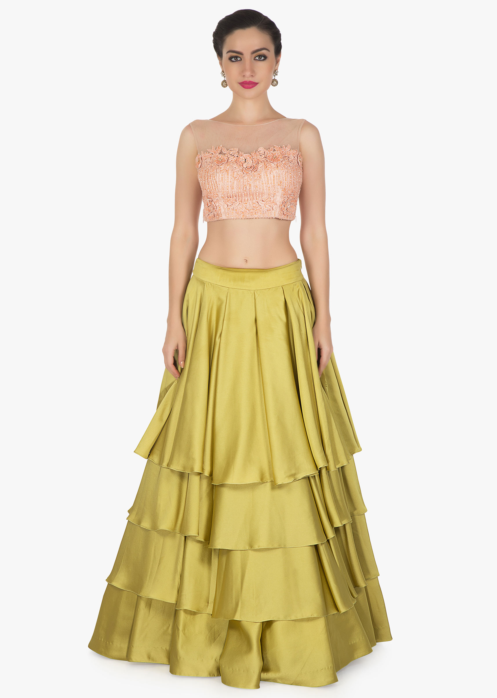 0bbd08ff68bc8 Moss green skirt matched with pink embroidered crop top blouse only on KalkiMore  Detail