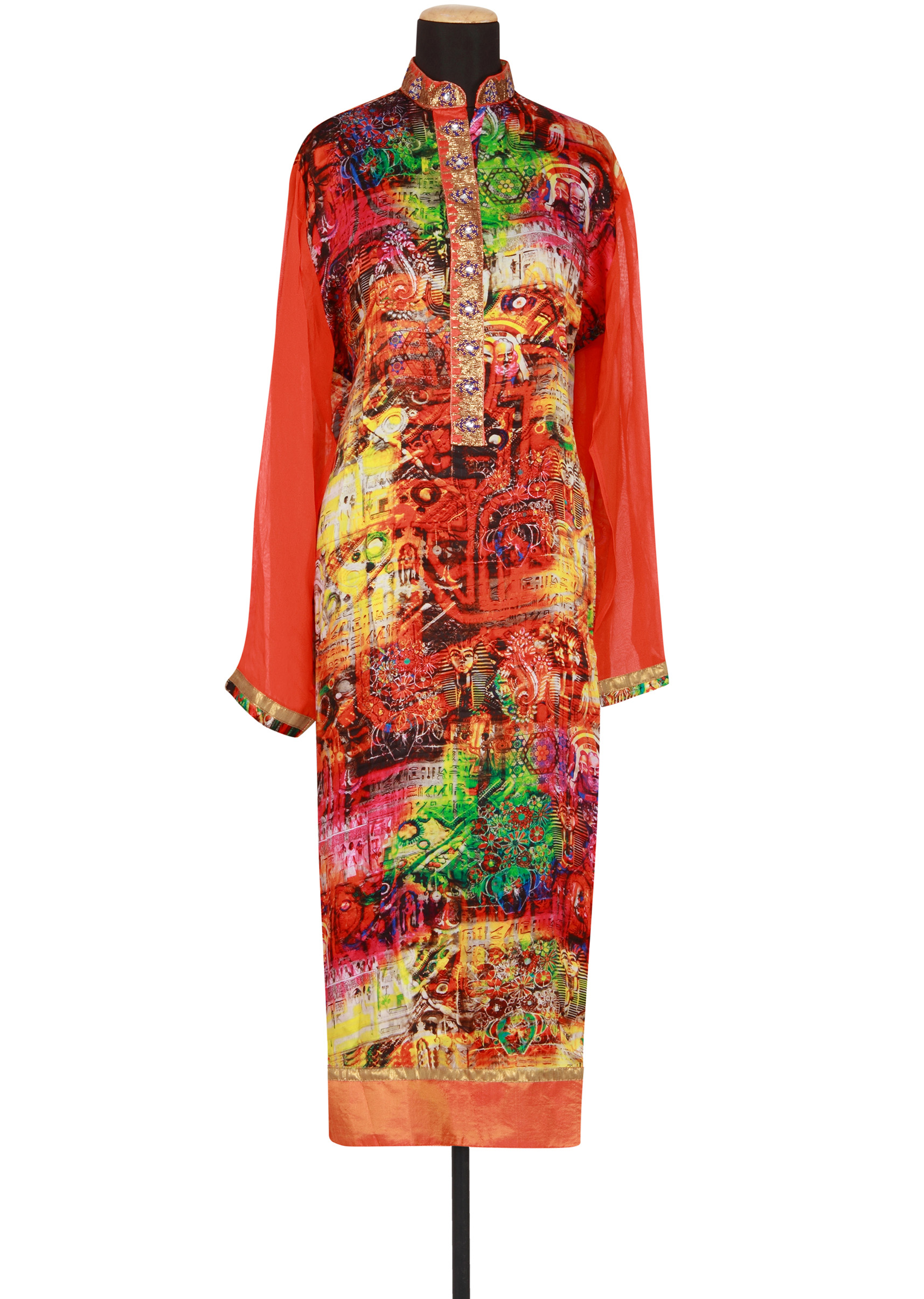 0ccc1980dda Multi coloured printed georgette semi-stitched salwar-kameez only on Kalki  More Detail