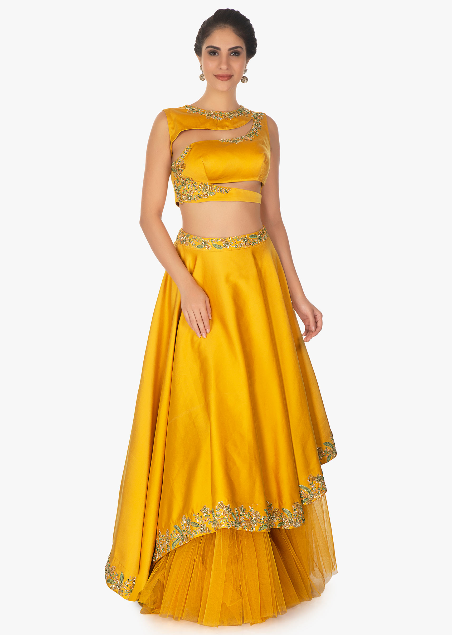 38c369f2f4ae9 Mustard cut out crop top with satin skirt having under layer in net only on KalkiMore  Detail