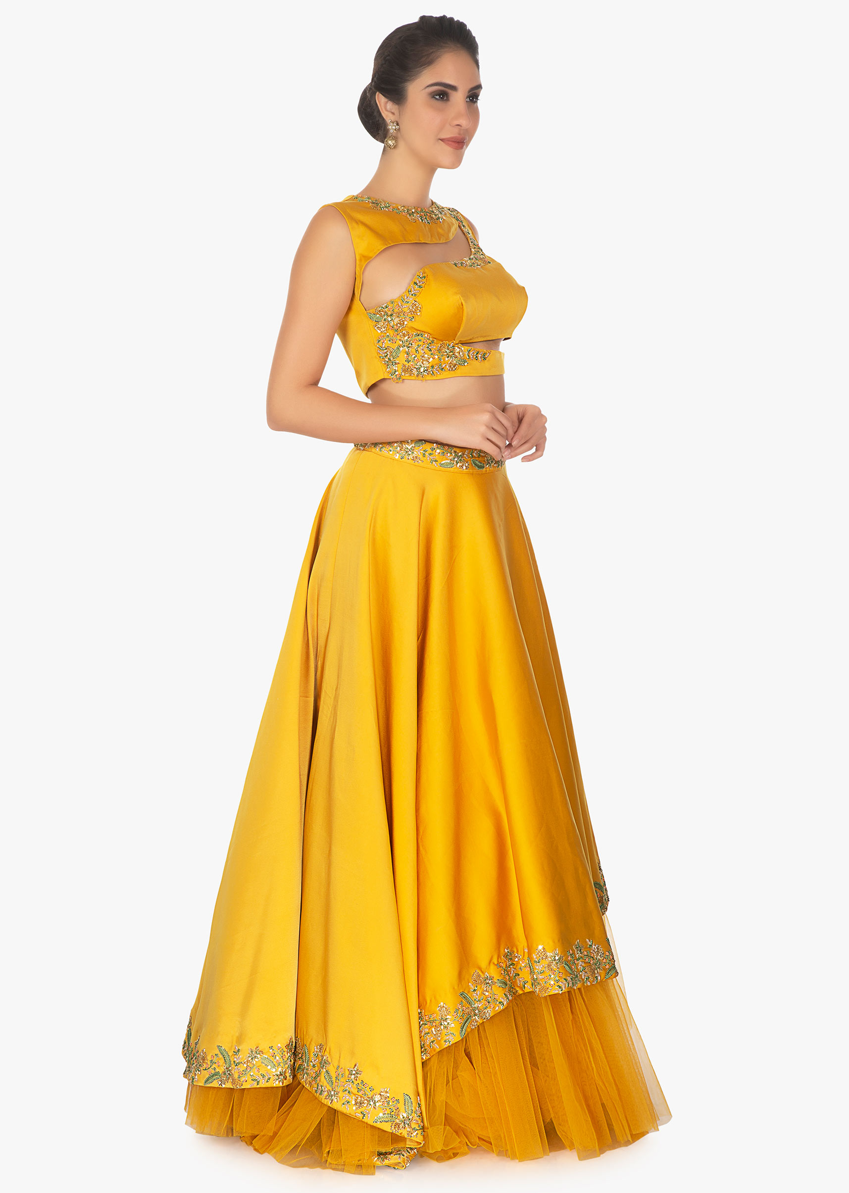b4846c3f89af6 Mustard cut out crop top with satin skirt having under layer in net only on  Kalki