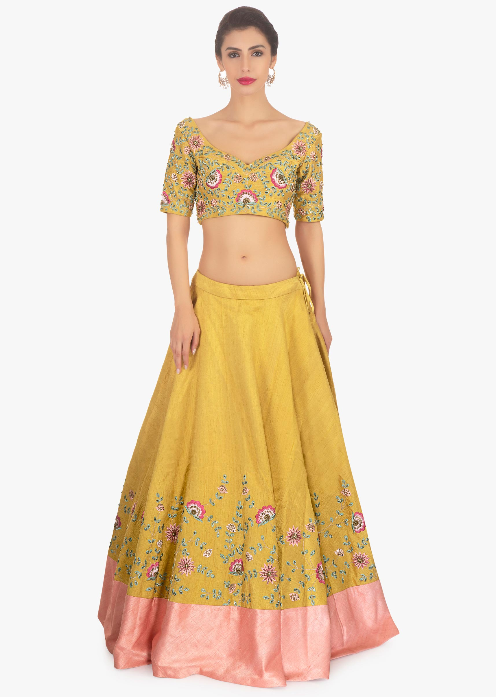 2520a4eeb4d89a Mustard raw silk lehenga and blouse paired long net jacket only on Kalki