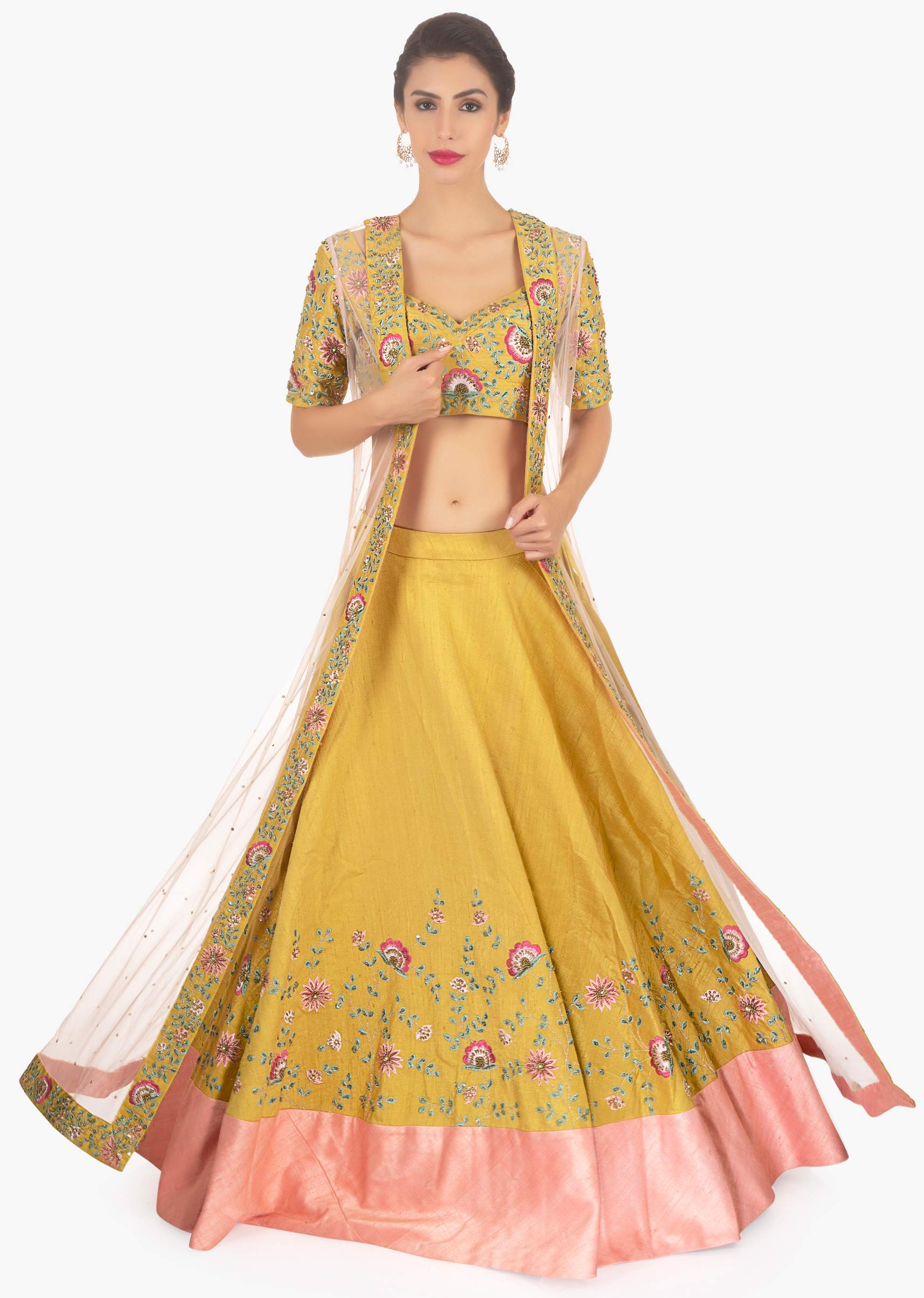 4d3259c7ceb4ed Mustard raw silk lehenga and blouse paired long net jacket only on KalkiMore  Detail