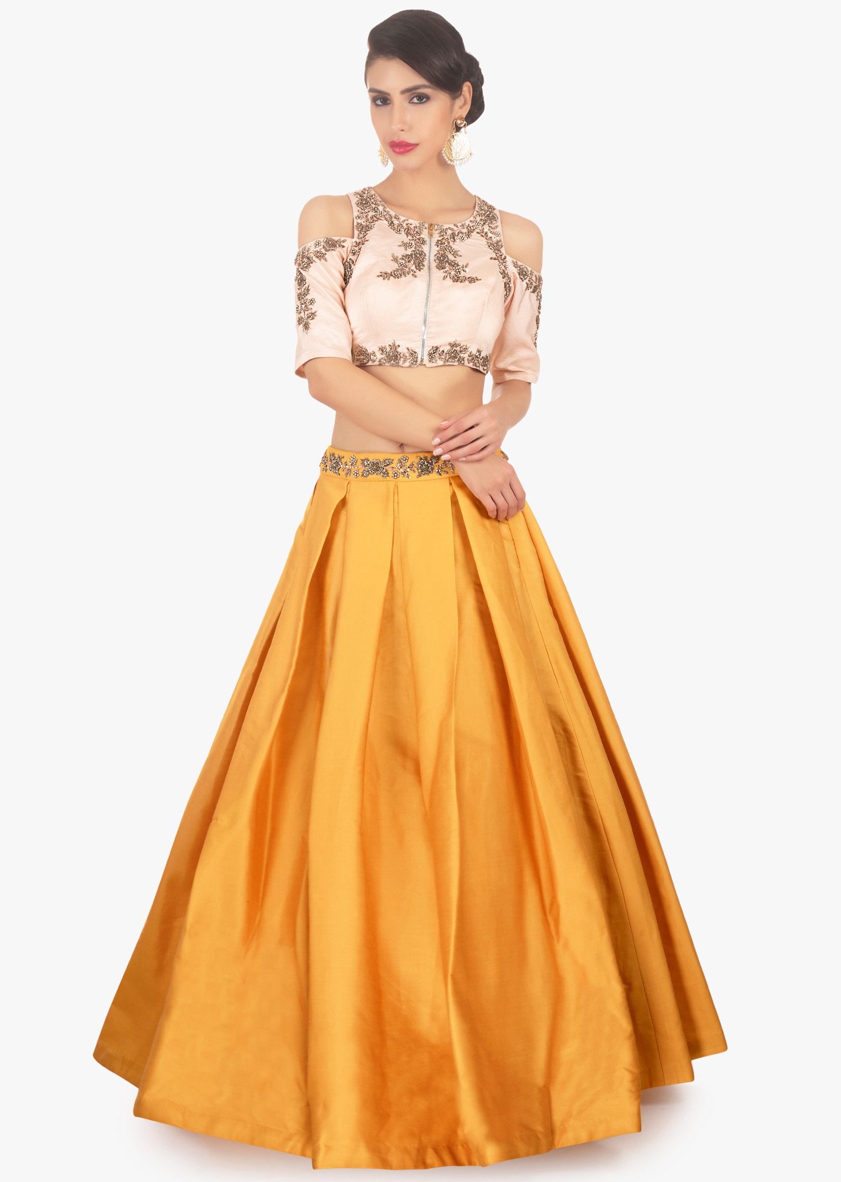 87faaf42b8a608 Mustard skirt paired with light peach cold shoulder crop top only on KalkiMore  Detail