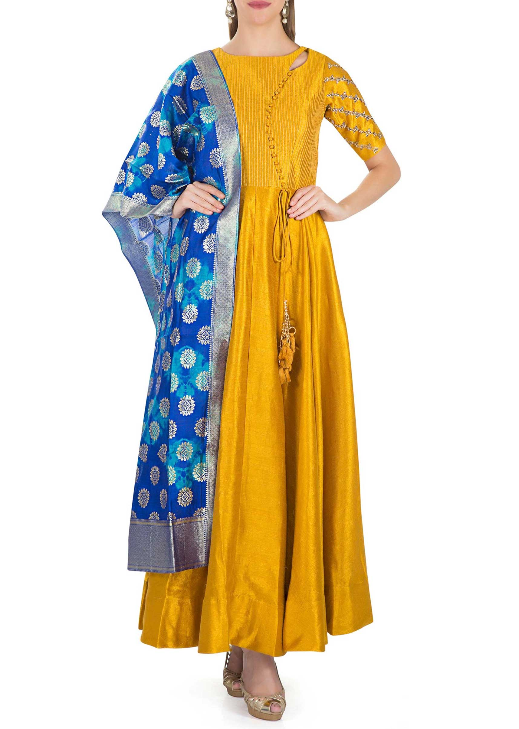 848b32dca6 Mustard Cotton Silk Top with Kundan Embroidery and Royal Blue Brocade Silk  Dupatta only on KalkiMore Detail