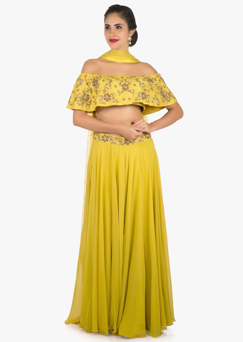 c509ab7f7c318 Mustard skirt and off shoulder crop top carved with zardosi embroidery work  only on Kalki