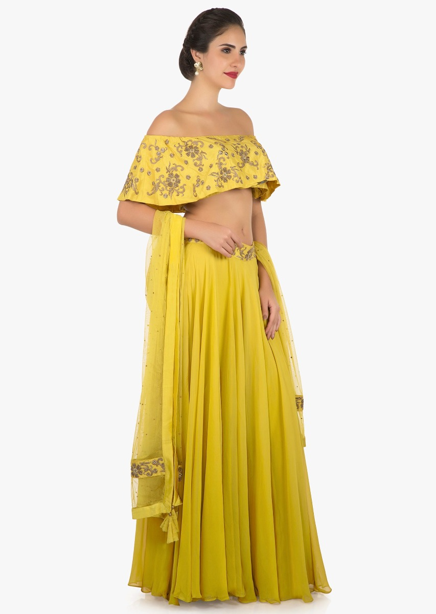 7edbb3445c106 Mustard skirt and off shoulder crop top carved with zardosi embroidery work  only on KalkiMore Detail. Sold Out