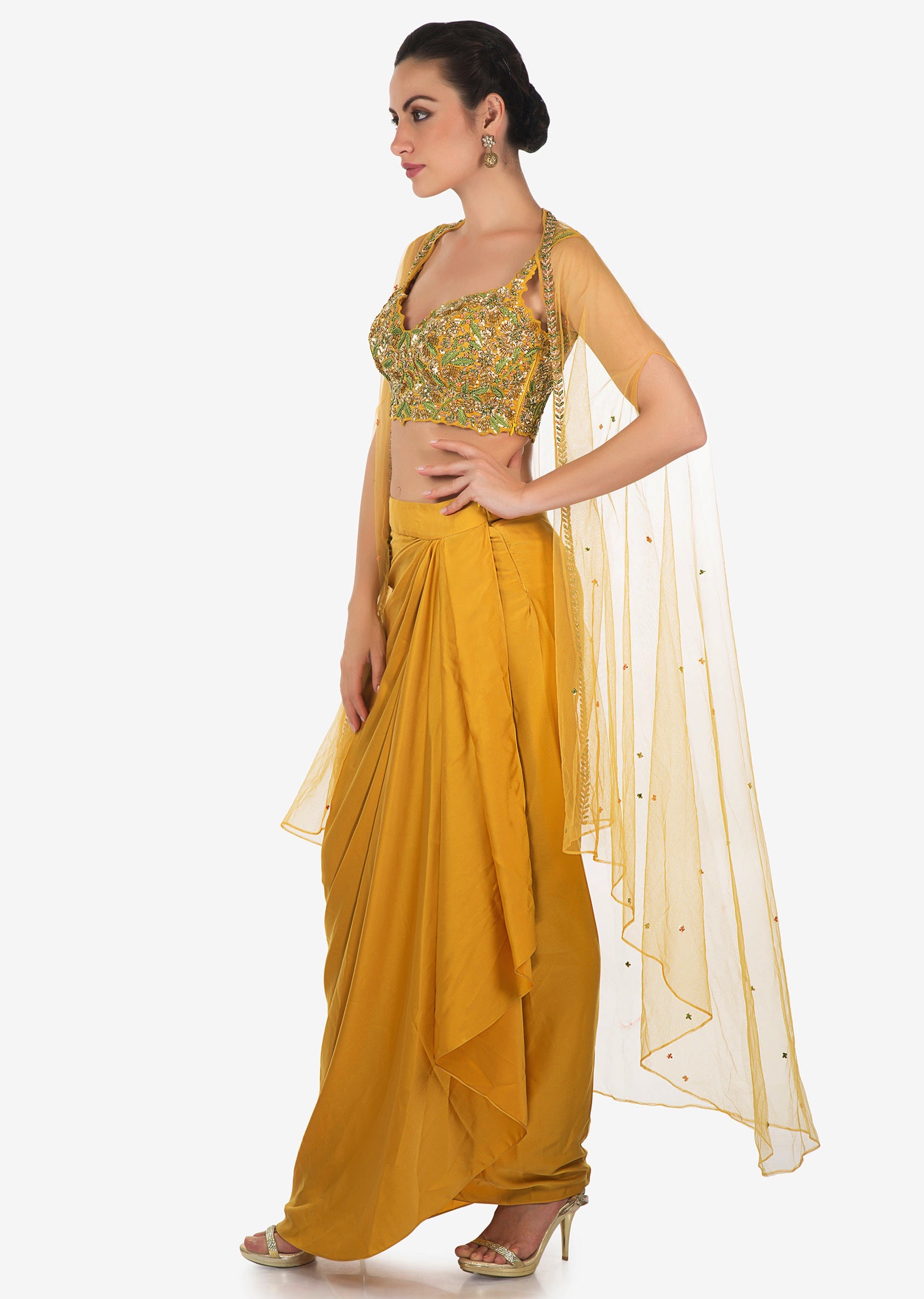 eababd35a11429 Mustard skirt in cowl drape matched with embroidered blouse and fancy  jacket only on Kalki