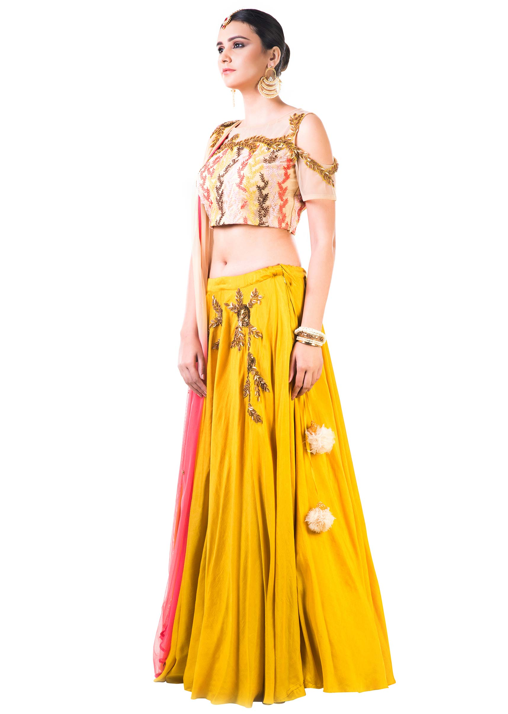 64afbd8d41 Mustard Yellow Lehenga With An Embroidered Beige Blouse And Shaded  DupattaMore Detail