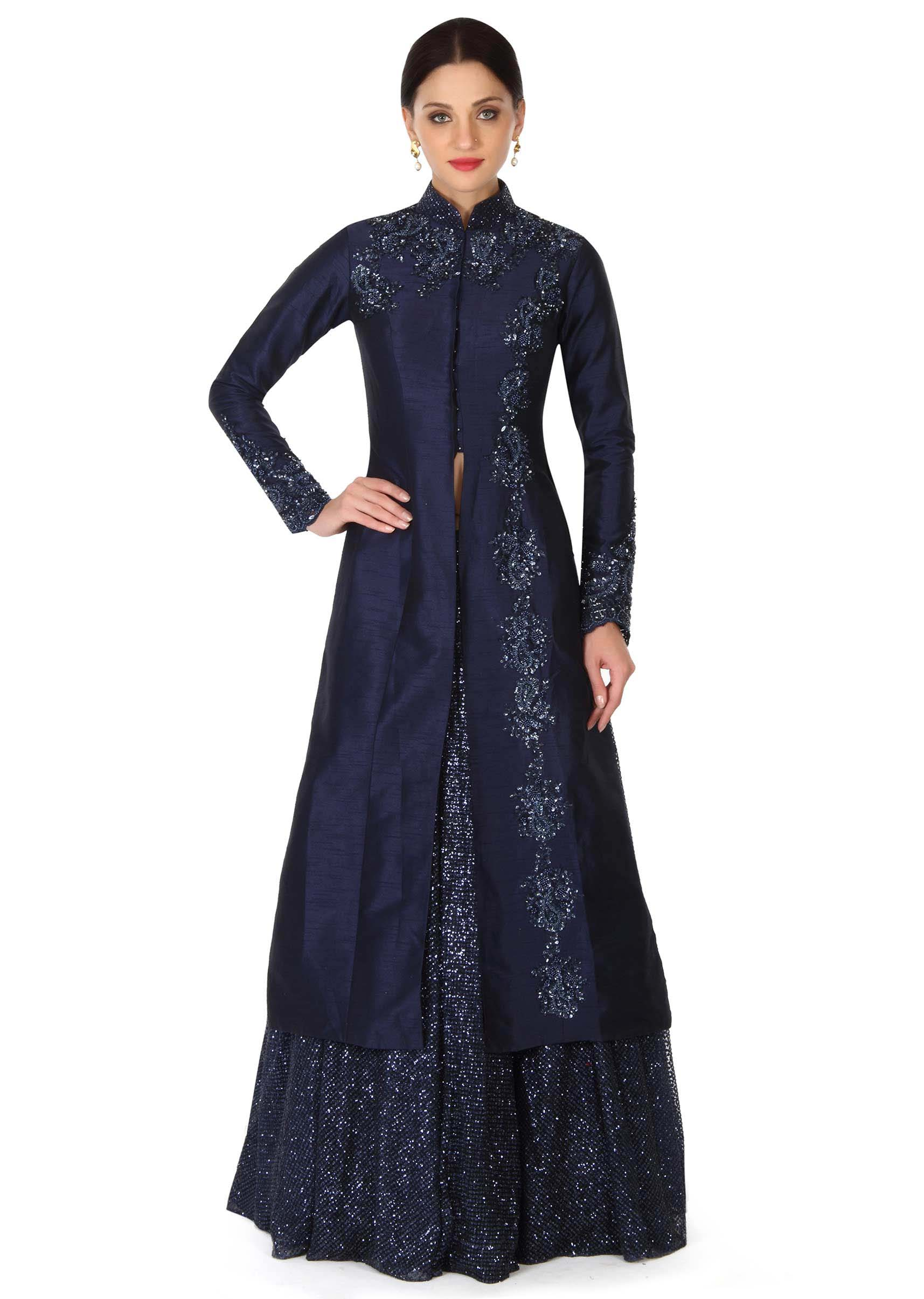 fbd7e778feb0da Navy blue lehenga with long embroidered jacket blouse only on Kalki