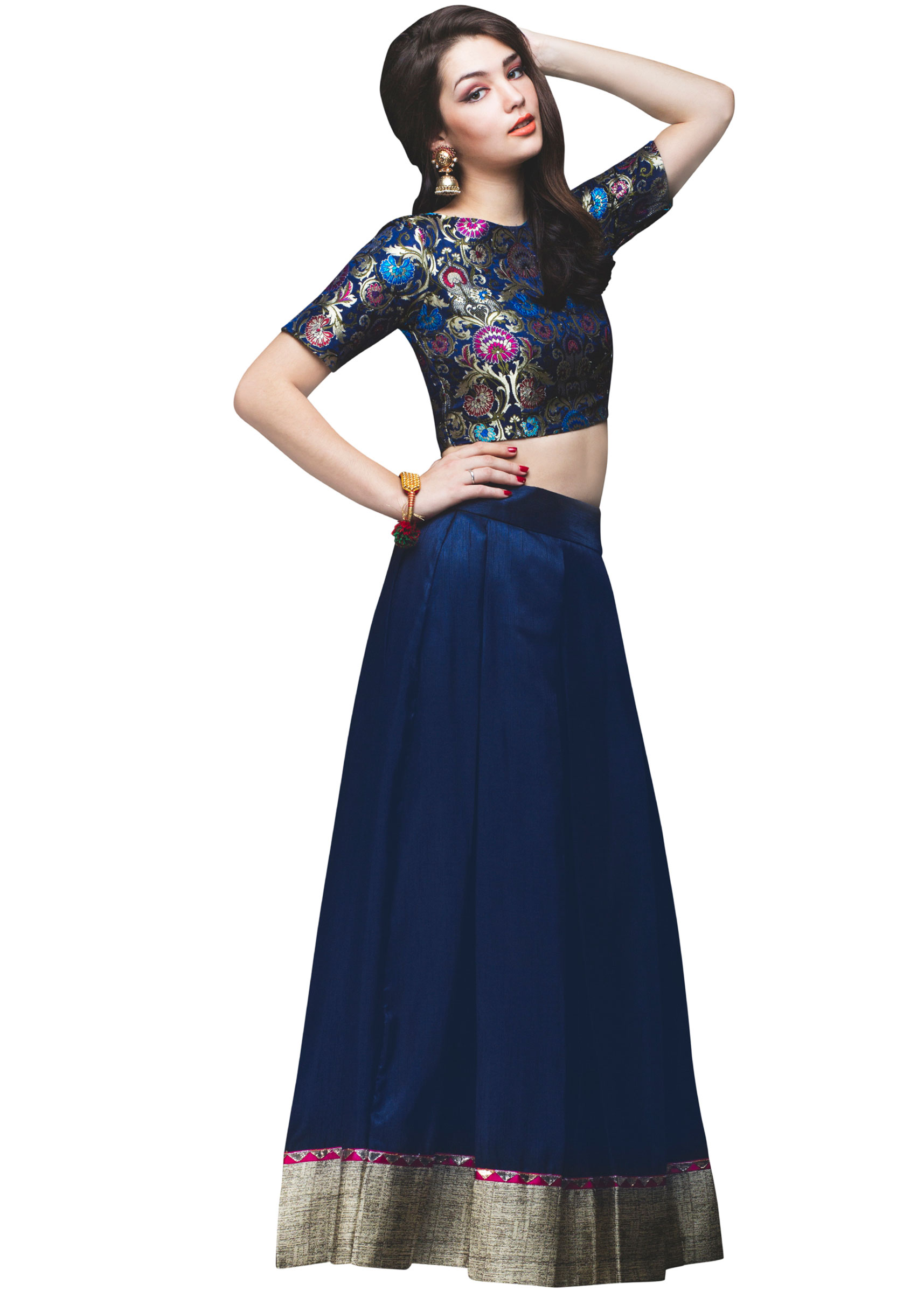 8c1d387222 Navy blue skirt matched with crop top brocade blouse