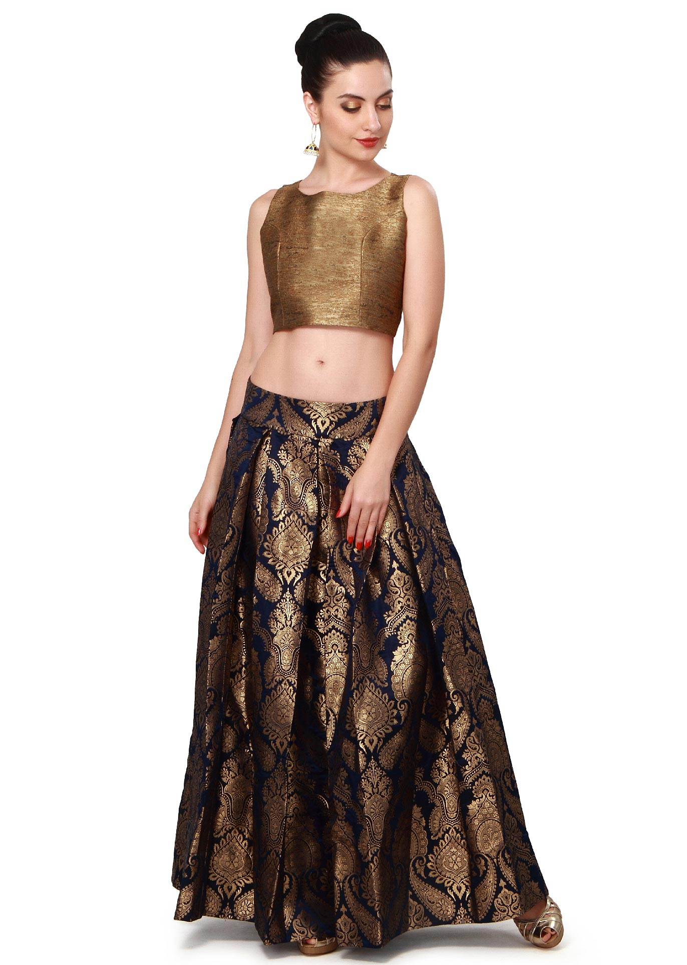 a29e71dfee075d Navy blue skirt matched with gold crop top only on KalkiMore Detail