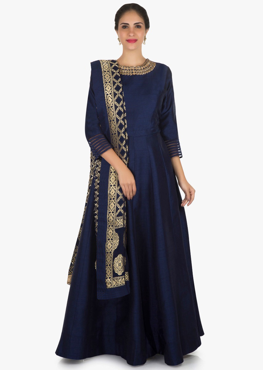 a55ad3114c0ec Navy blue anarkali suit in silk with a banarasi brocade dupatta adorn in  cutdana and kundan work only on KalkiMore Detail