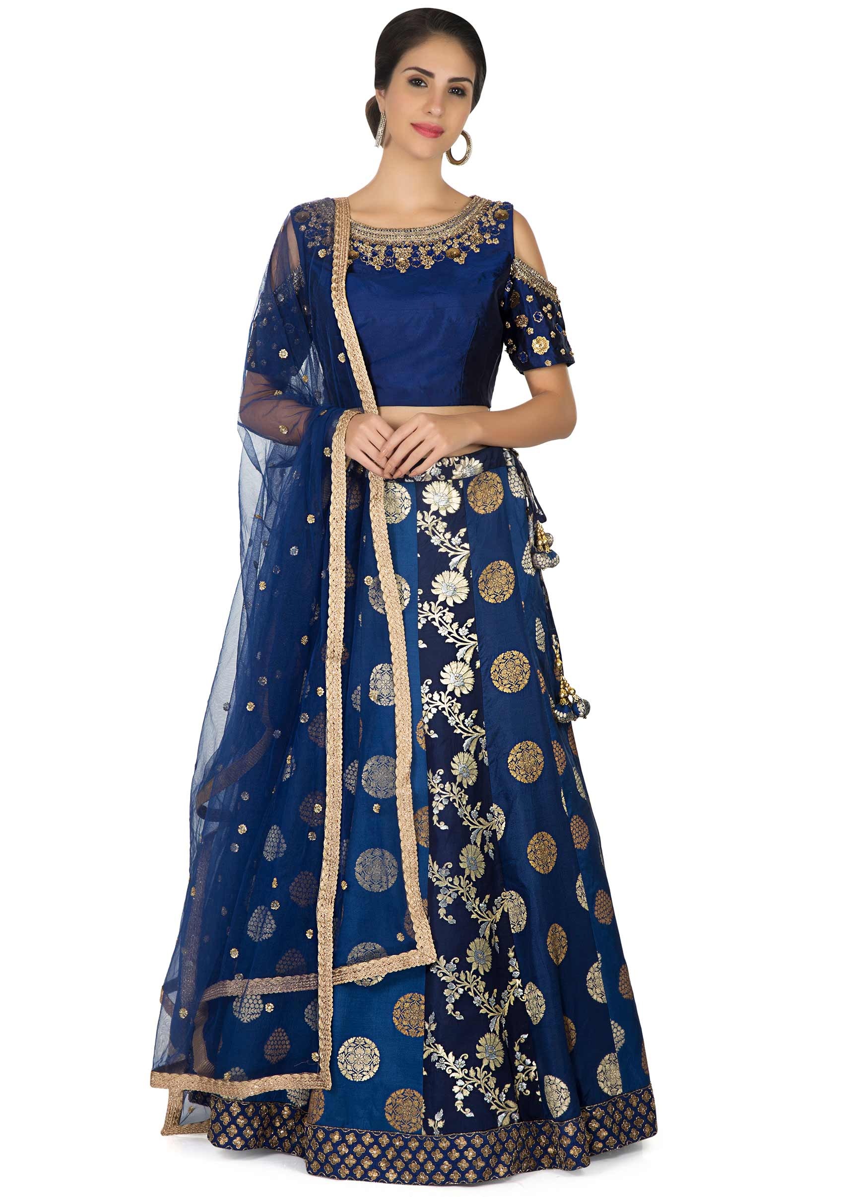 f70022b9f8ae23 Navy blue lehenga in brocade with embroidered cold shoulder blouse only on  KalkiMore Detail