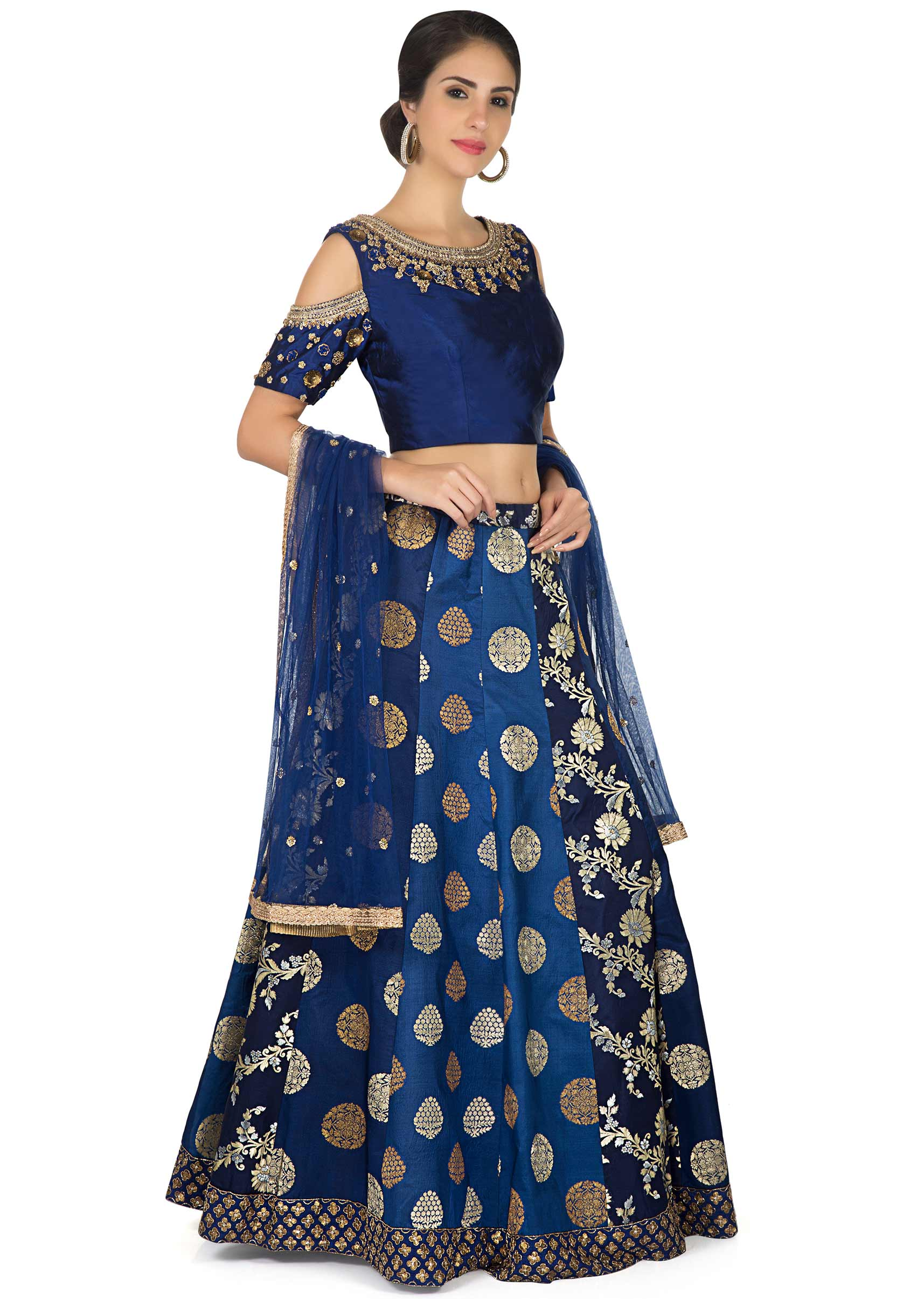 174b558500e0ec Navy blue lehenga in brocade with embroidered cold shoulder blouse only on  Kalki