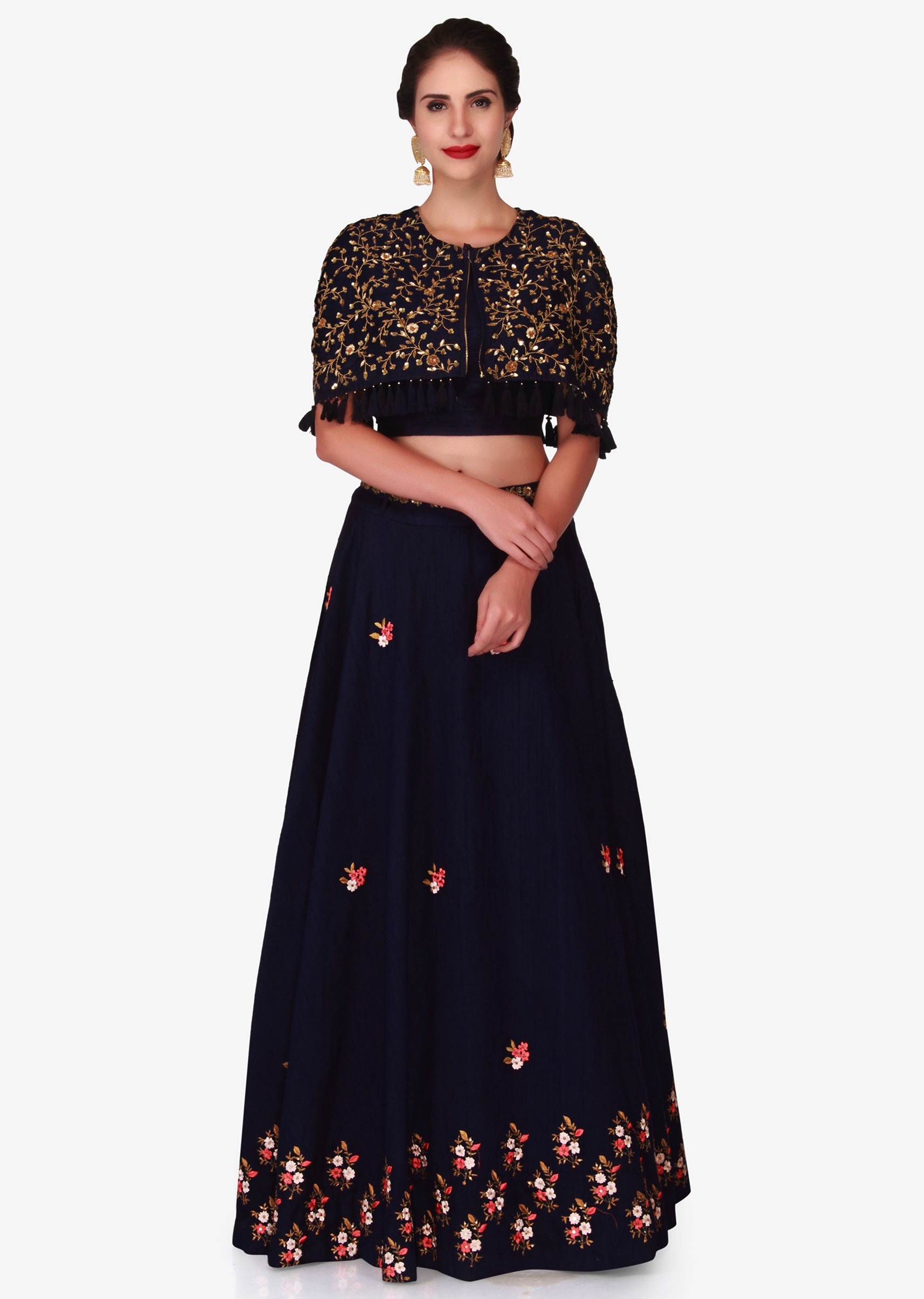 14cc54cfe720cc Navy blue lehenga in raw silk with a cape jacket embellished in heavy  resham and zardosi work only on KalkiMore Detail