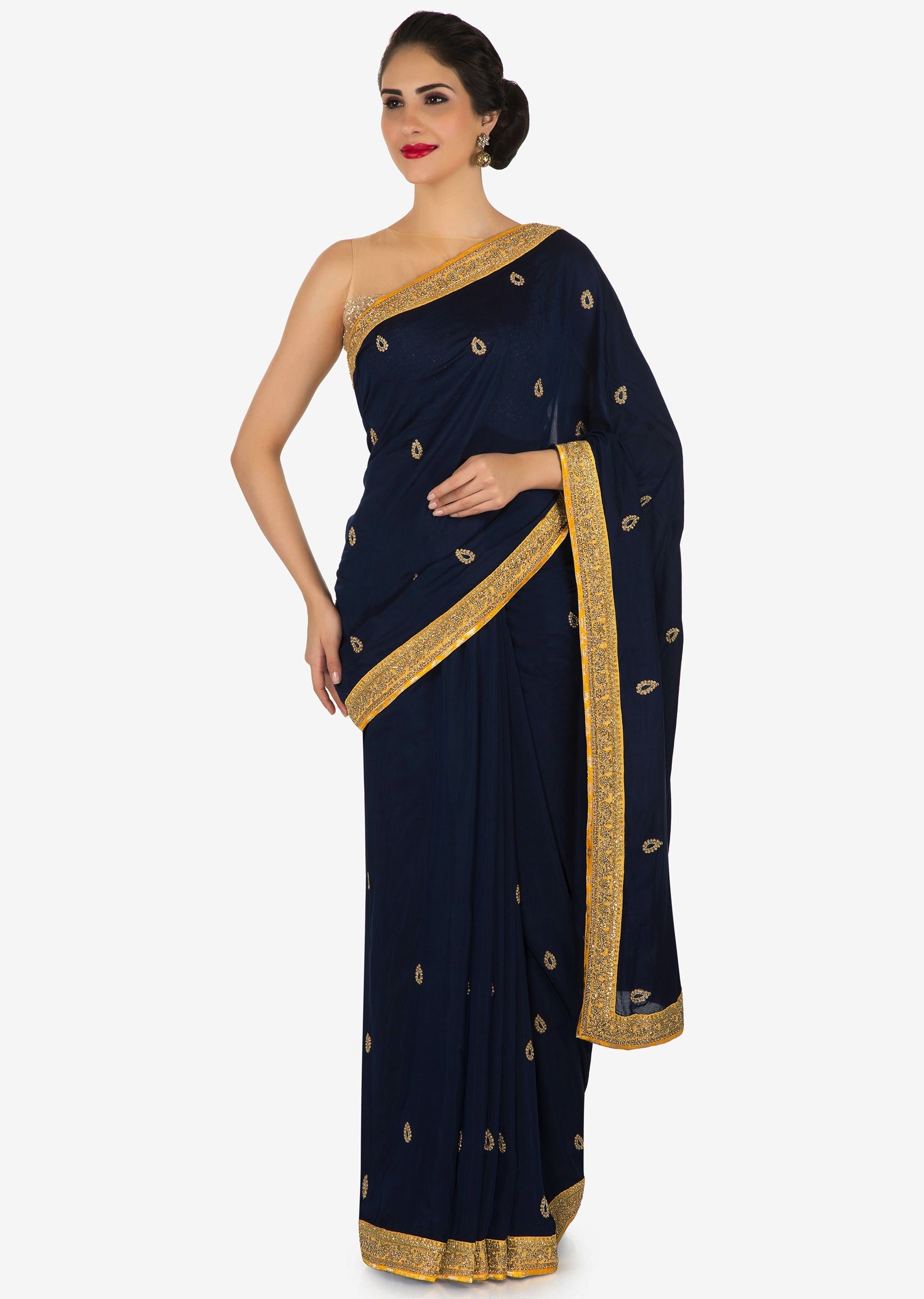 ebc01e0a0c Navy blue saree in moti and zardosi butti along with contrast border only  on KalkiMore Detail