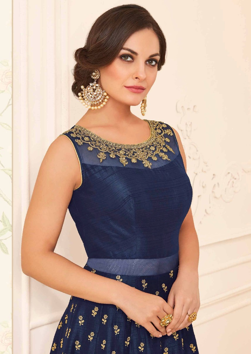 e65947f365 Navy blue silk anarkali suit with adorn in kundan and zari embroidery