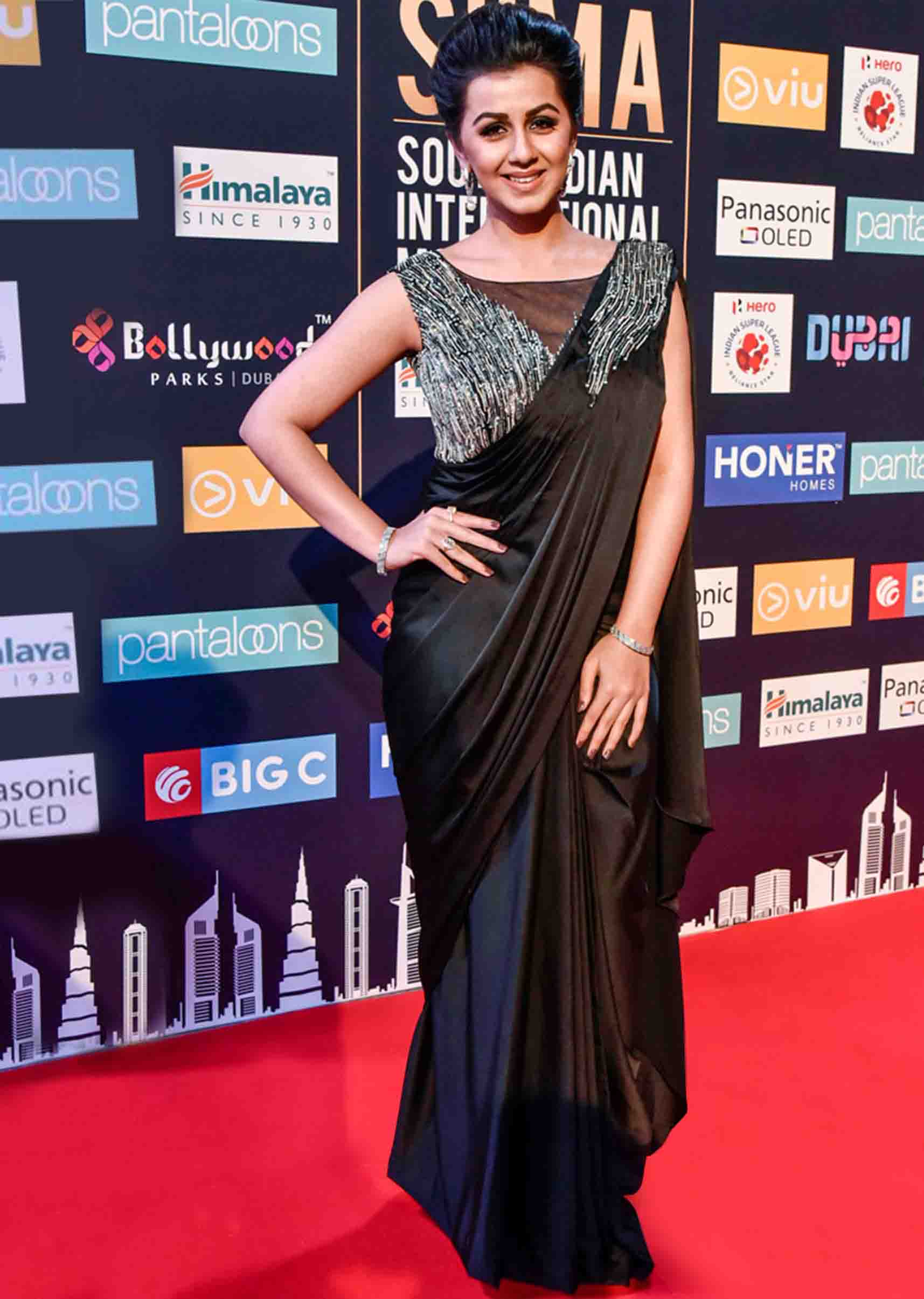 Nikki Galrani In Kali Black Saree With Embroidered Draped Pallo
