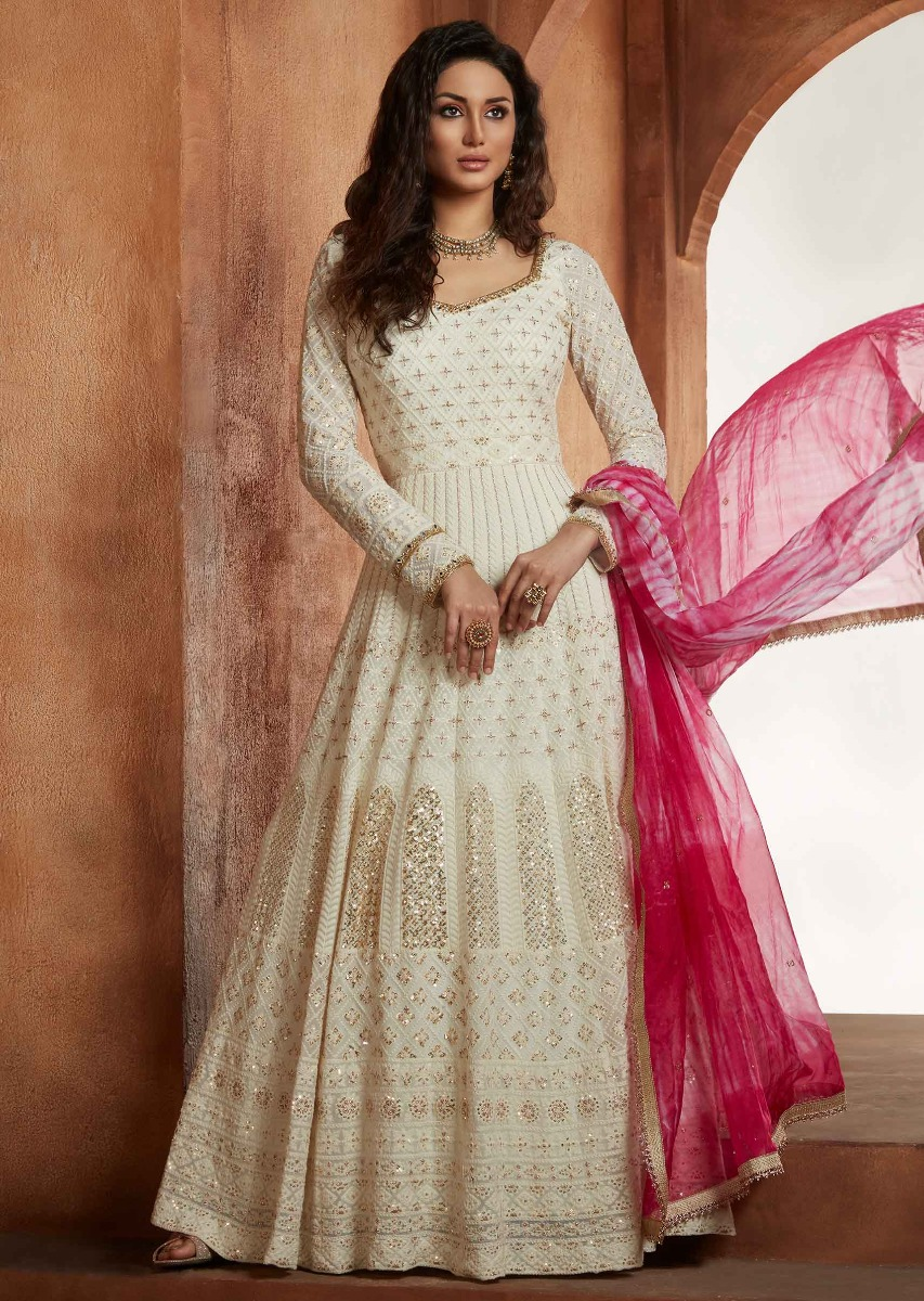 122e4b4d97 Off White Anarkali Suit In Georgette With Thread Embroidery And Shaded  Organza Dupatta