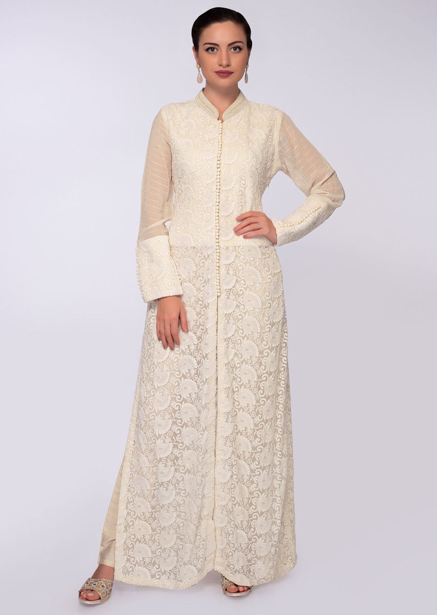 9d70f686af Off white chicken embroidered chiffon suit with front and side slit only on  Kalki