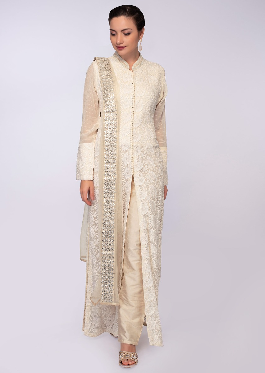0b19031eb8 Off white chicken embroidered chiffon suit with front and side slit only on  KalkiMore Detail