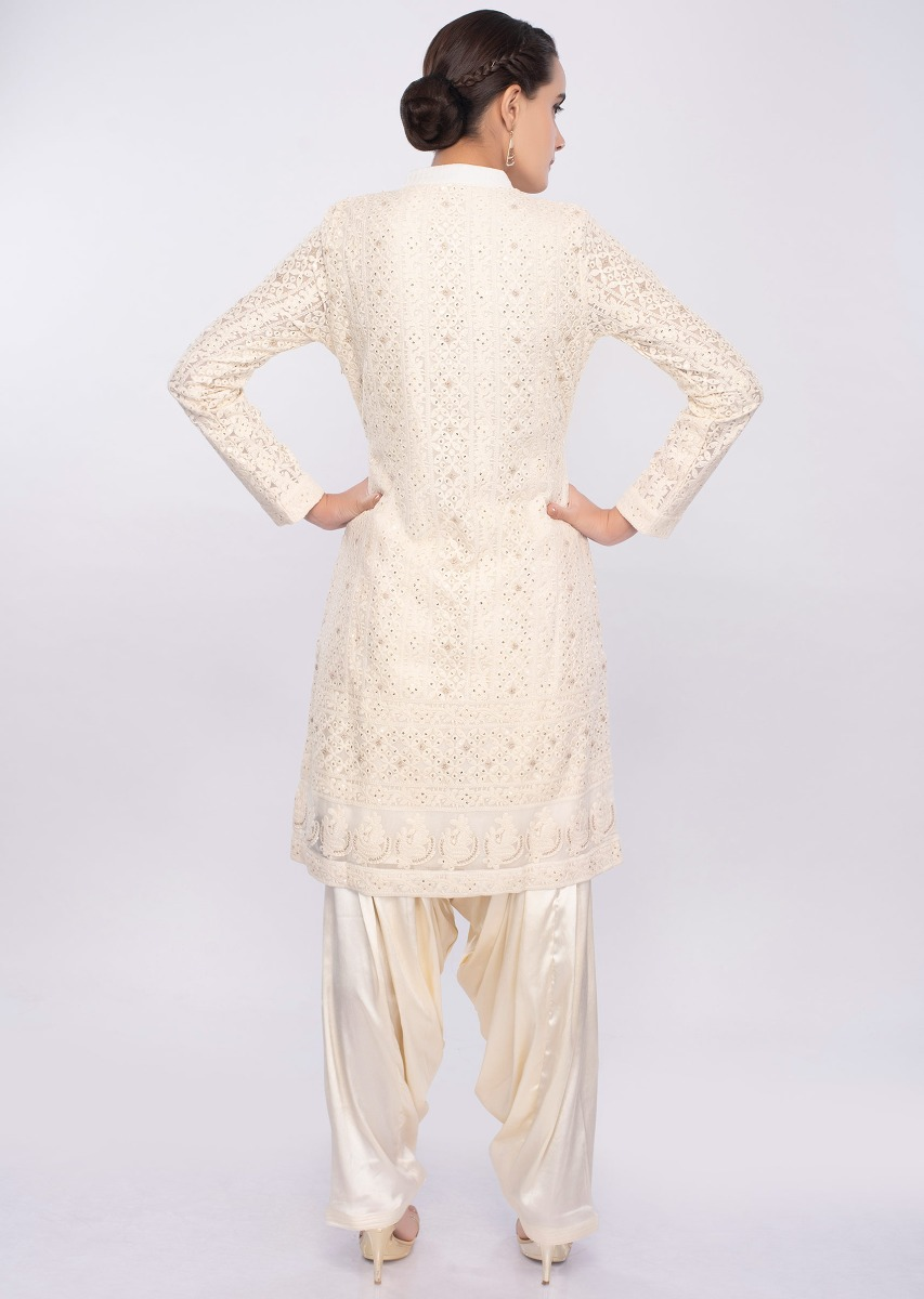 247a6f4583 Off white chicken embroidered salwar suit only on Kalki