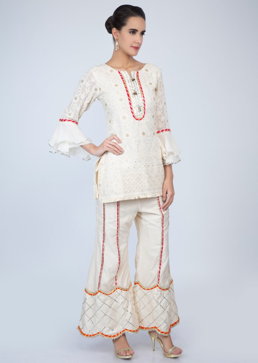 4c058e95ae Off white chicken embroidered suit with lace embroidered palazzo only on  Kalki
