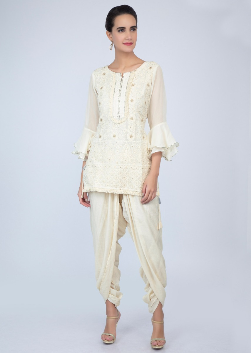 34ebd269ed Off white chicken embroidered top with dhoti pant only on Kalki