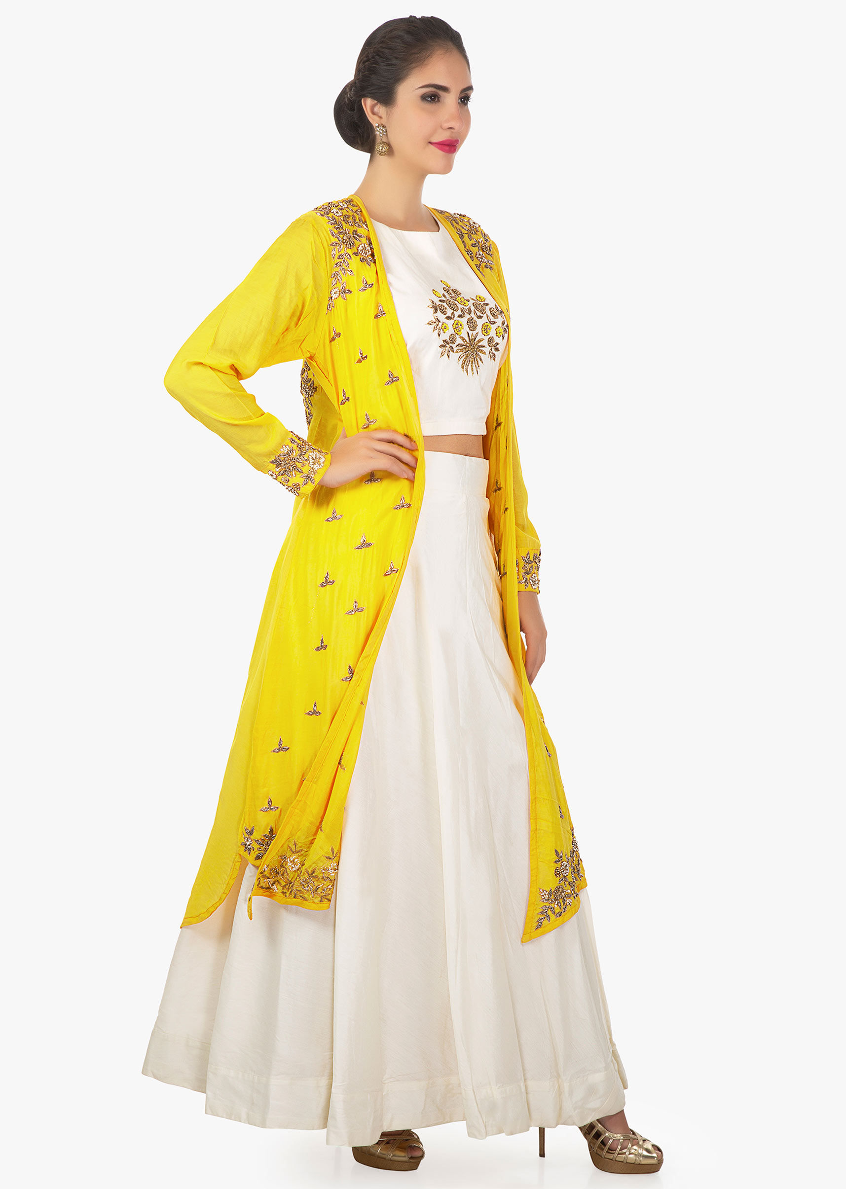 3dcb785bea17ad Off white crop top and skirt matched with a chrome yellow long jacket only  on kalki
