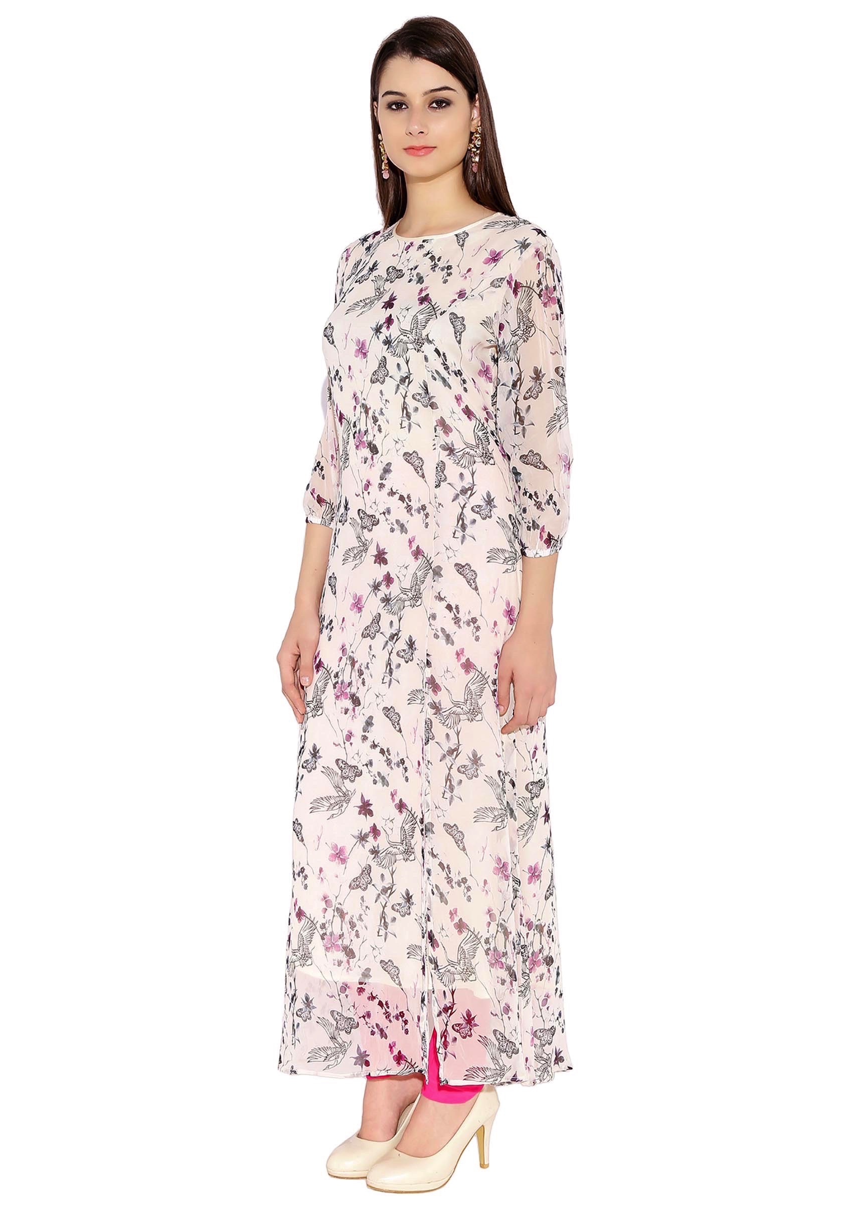 220eec40775 Off White Georgette Kurti With Boat Neck Contemporary Maxi Dress Style Only  On Kalki
