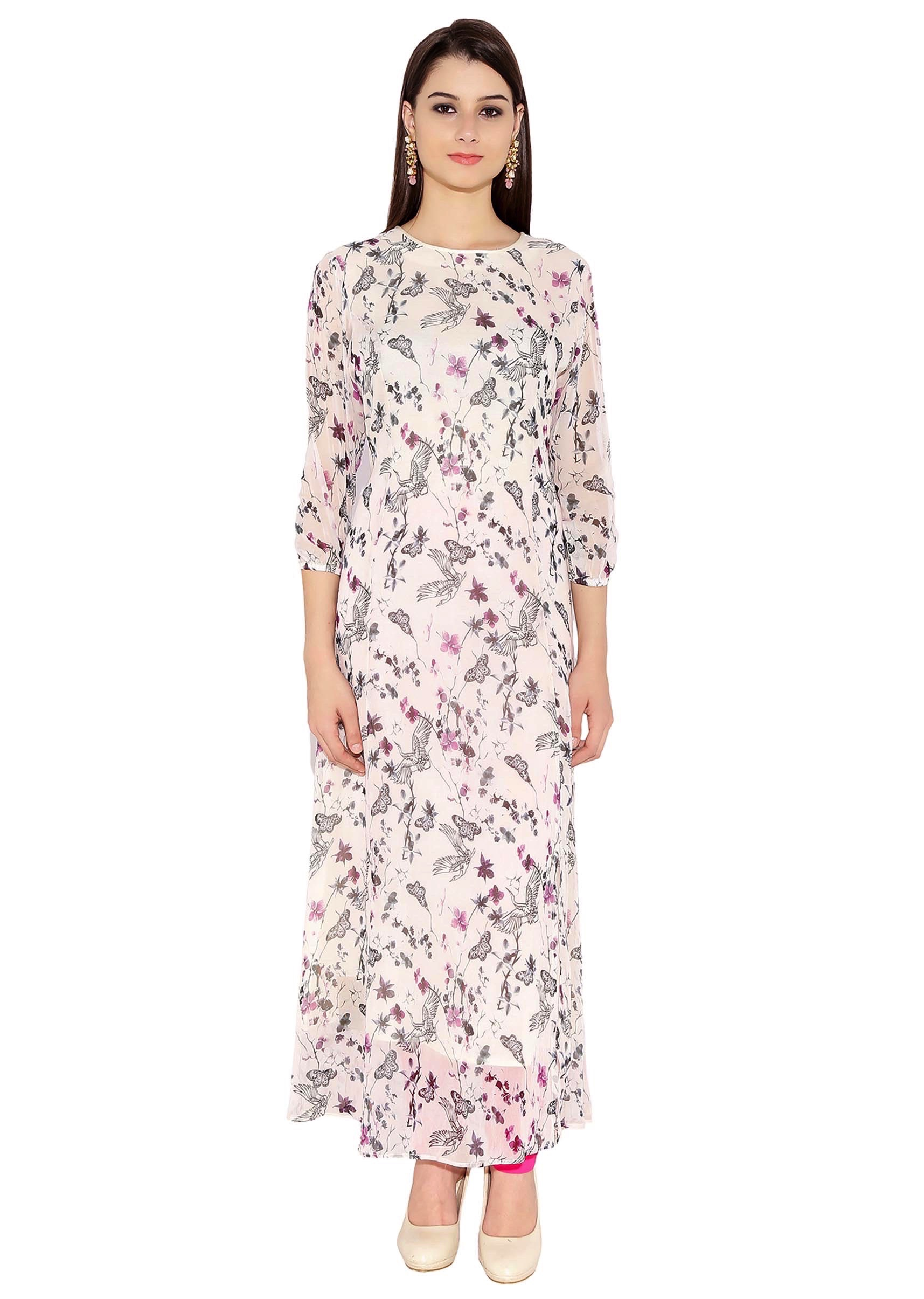 cb63255d1cc Off White Georgette Kurti With Boat Neck Contemporary Maxi Dress Style Only  On KalkiMore Detail