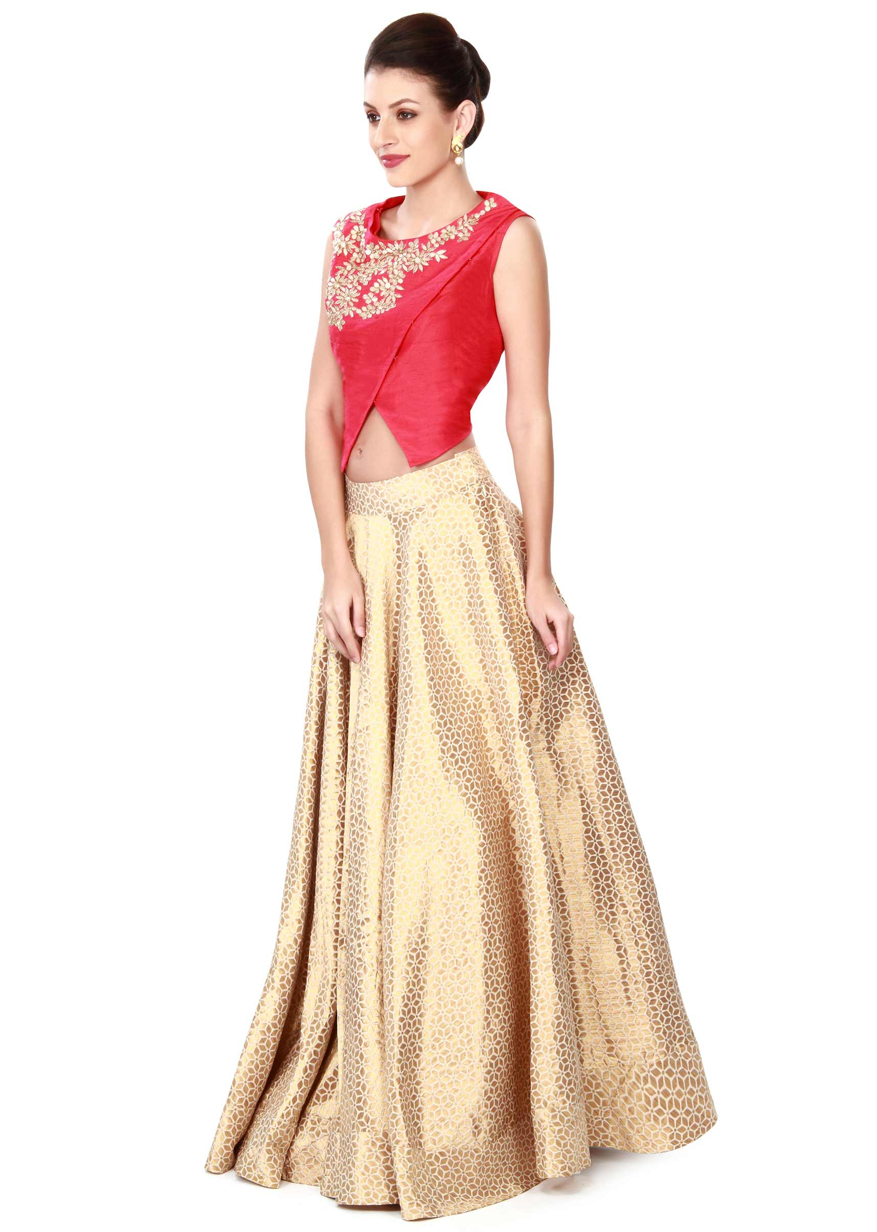 37611c9b054bb2 Off white lehenga matched with red blouse only on KalkiMore Detail