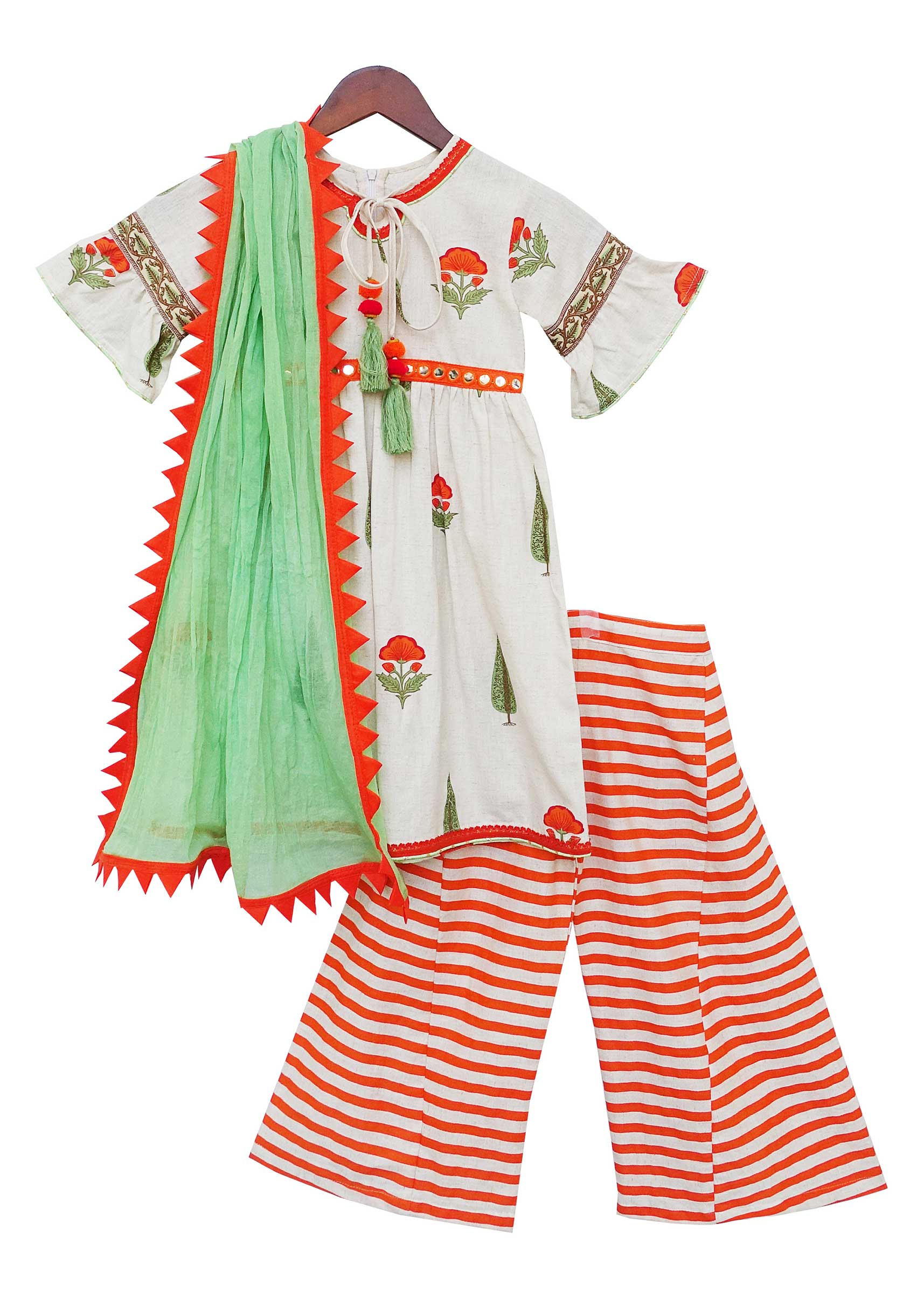 b15ea482c77 Off-white Printed Kurti Palazzo Set by Fayon KidsMore Detail