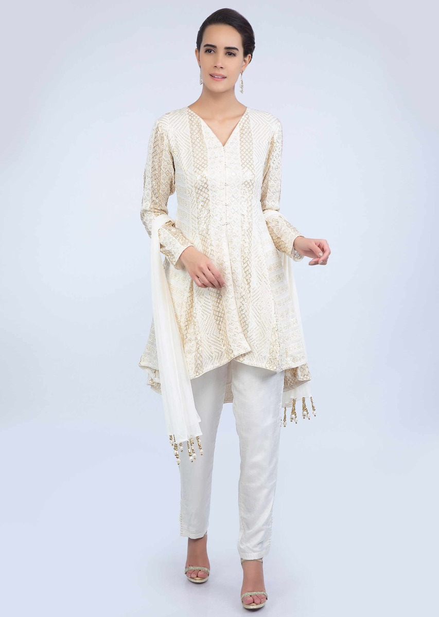 d0761e3bbd Off white short georgette thread embroidered suit with straight pant and  lycra net dupatta only on KalkiMore Detail