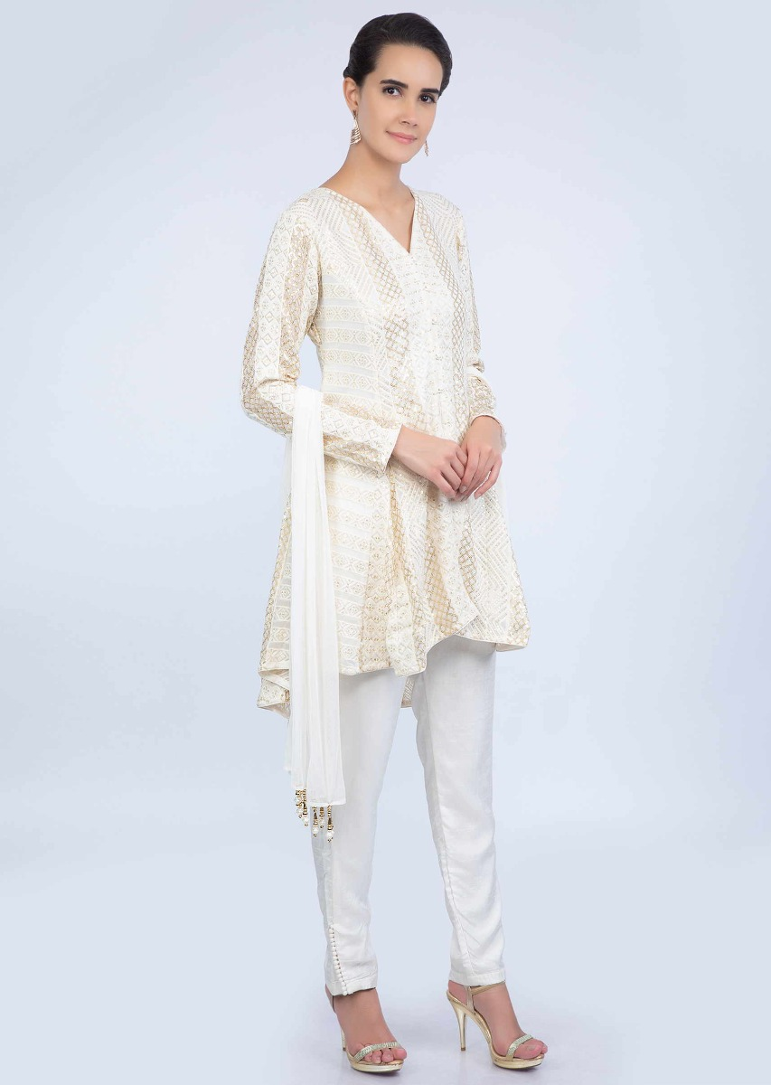 d145281319 Off white short georgette thread embroidered suit with straight pant and  lycra net dupatta only on Kalki