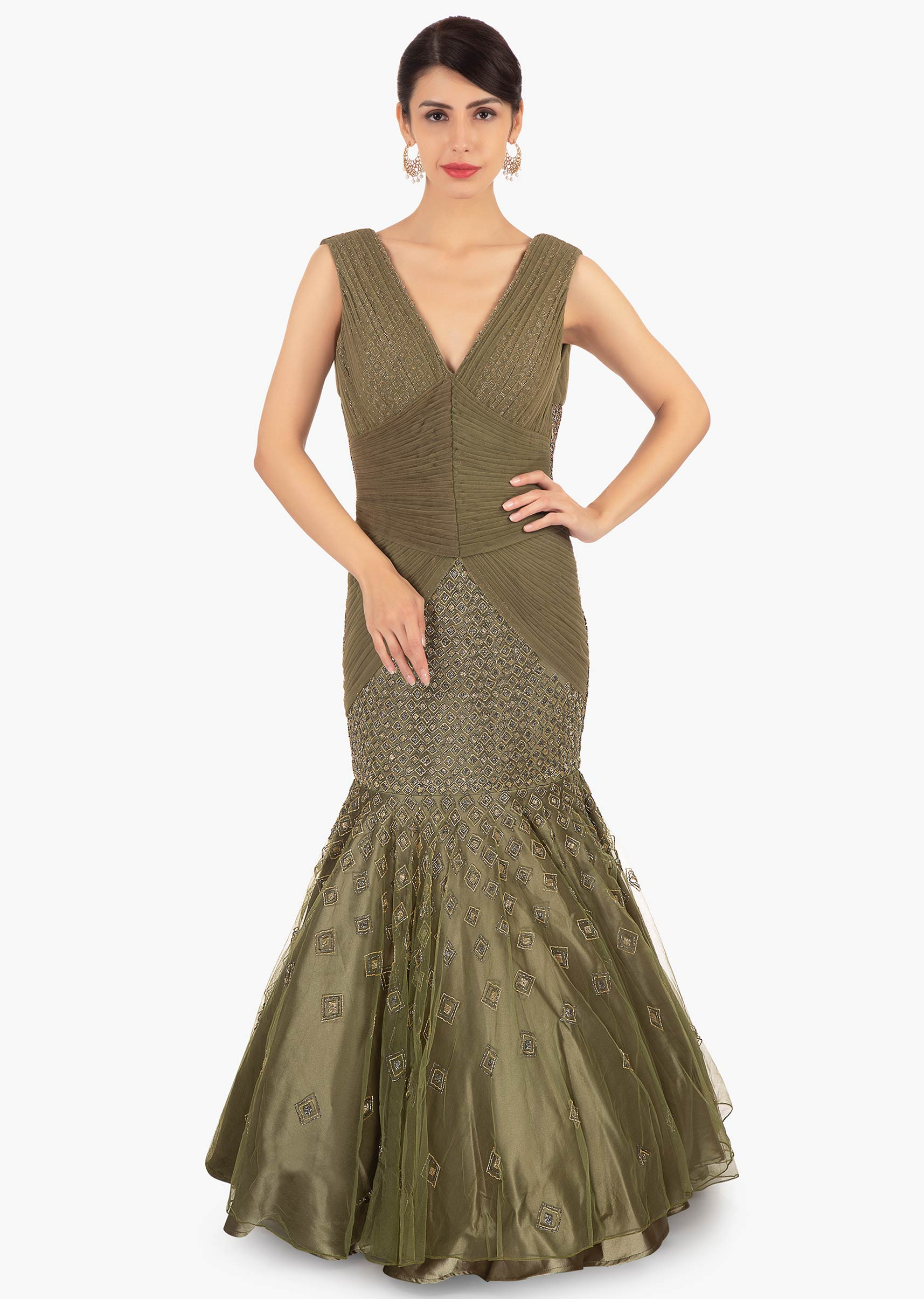 9b36e1fc352 Olive green fish tail net gown with flared bottom only on KalkiMore Detail