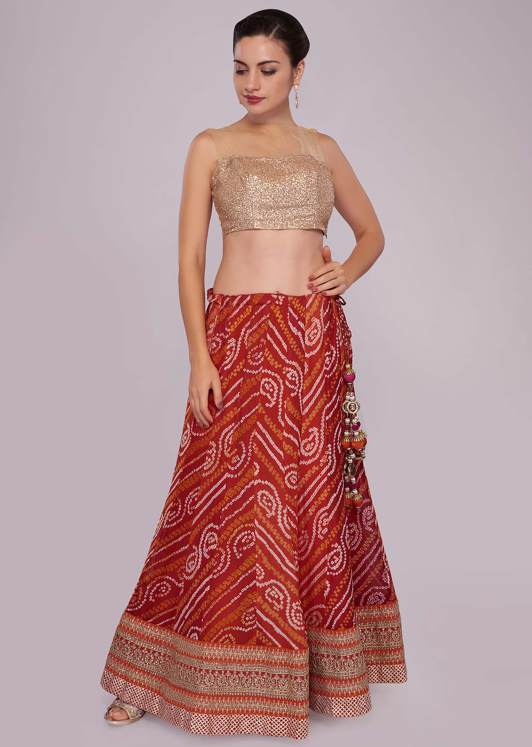 4b23592ab2 Orange and red shaded bandhani printed georgette lehenga with red chiffon dupatta  only on KalkiMore Detail