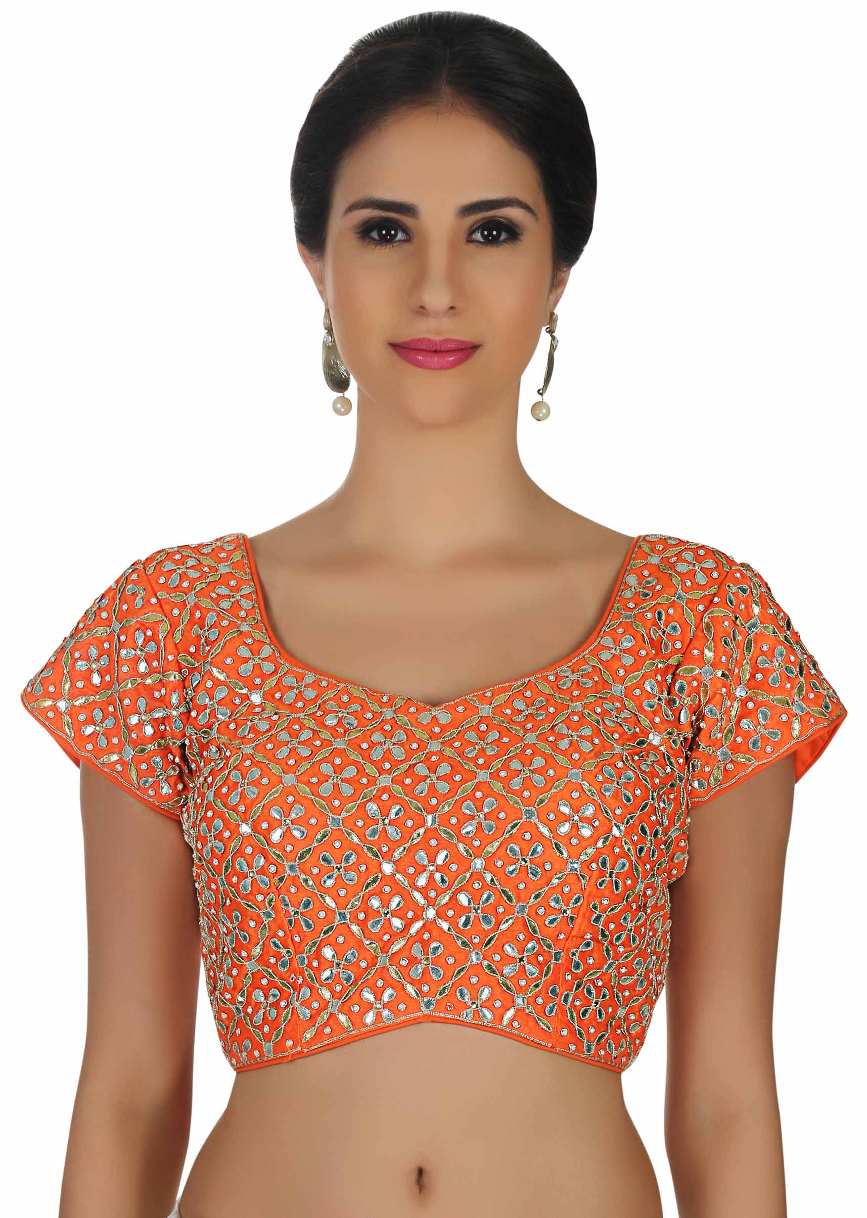 d7d25361f6cdb1 Orange blouse in raw silk with gotta patti embroidery only on Kalki