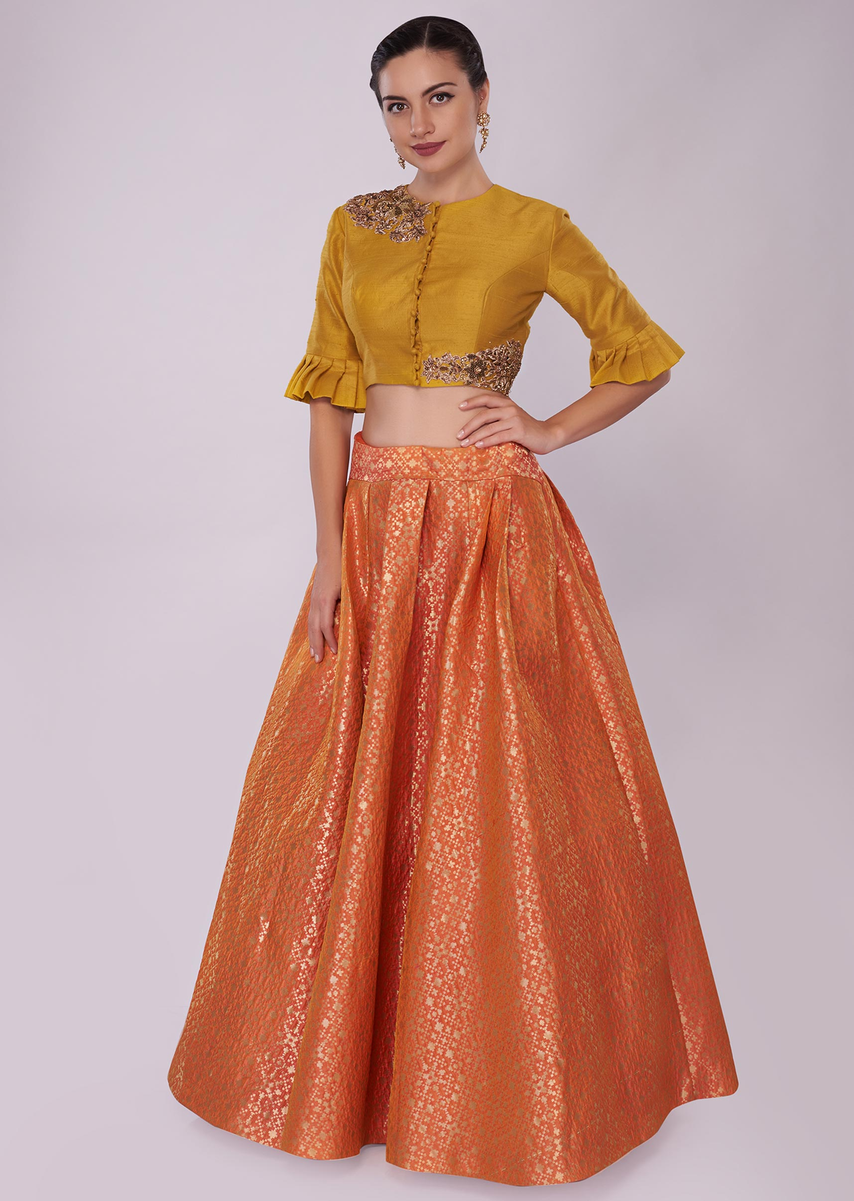 935669db20cd3c Orange brocade skirt paired with a chrome yellow raw silk crop top only on Kalki  More Detail