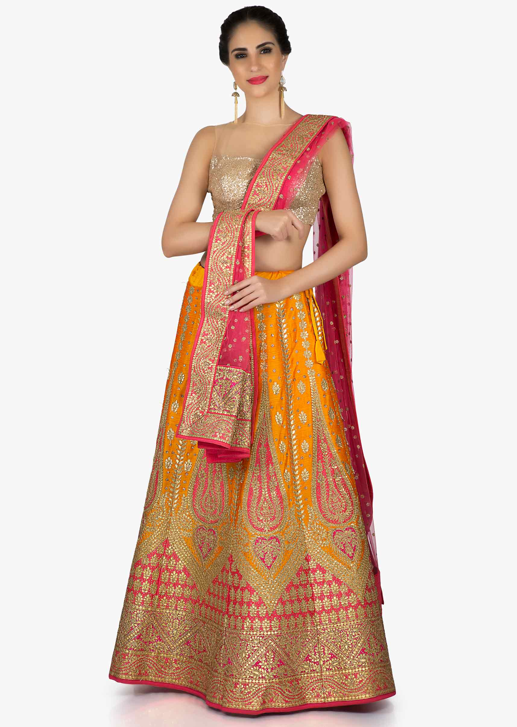 89bbdc8f8e Orange and pink lehenga in raw silk with gotta patch embroidery only on KalkiMore  Detail