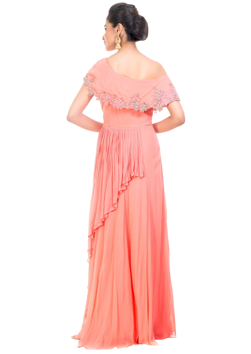 b8c6405bdf289 Peach Drop Shoulder Gown